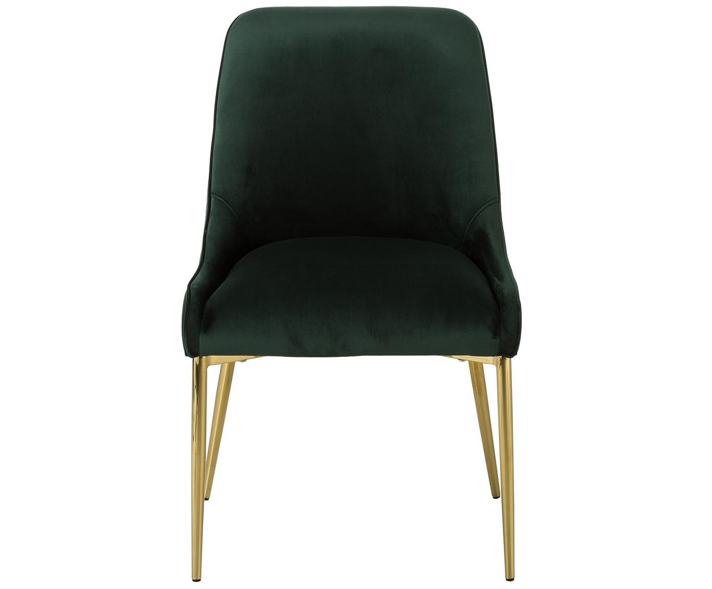 Krzesło tapicerowane z aksamitu Ava, Tapicerka: aksamit (100% poliester) , Nogi: metal galwanizowany, Aksamitny ciemny zielony, S 55 x G 60 cm