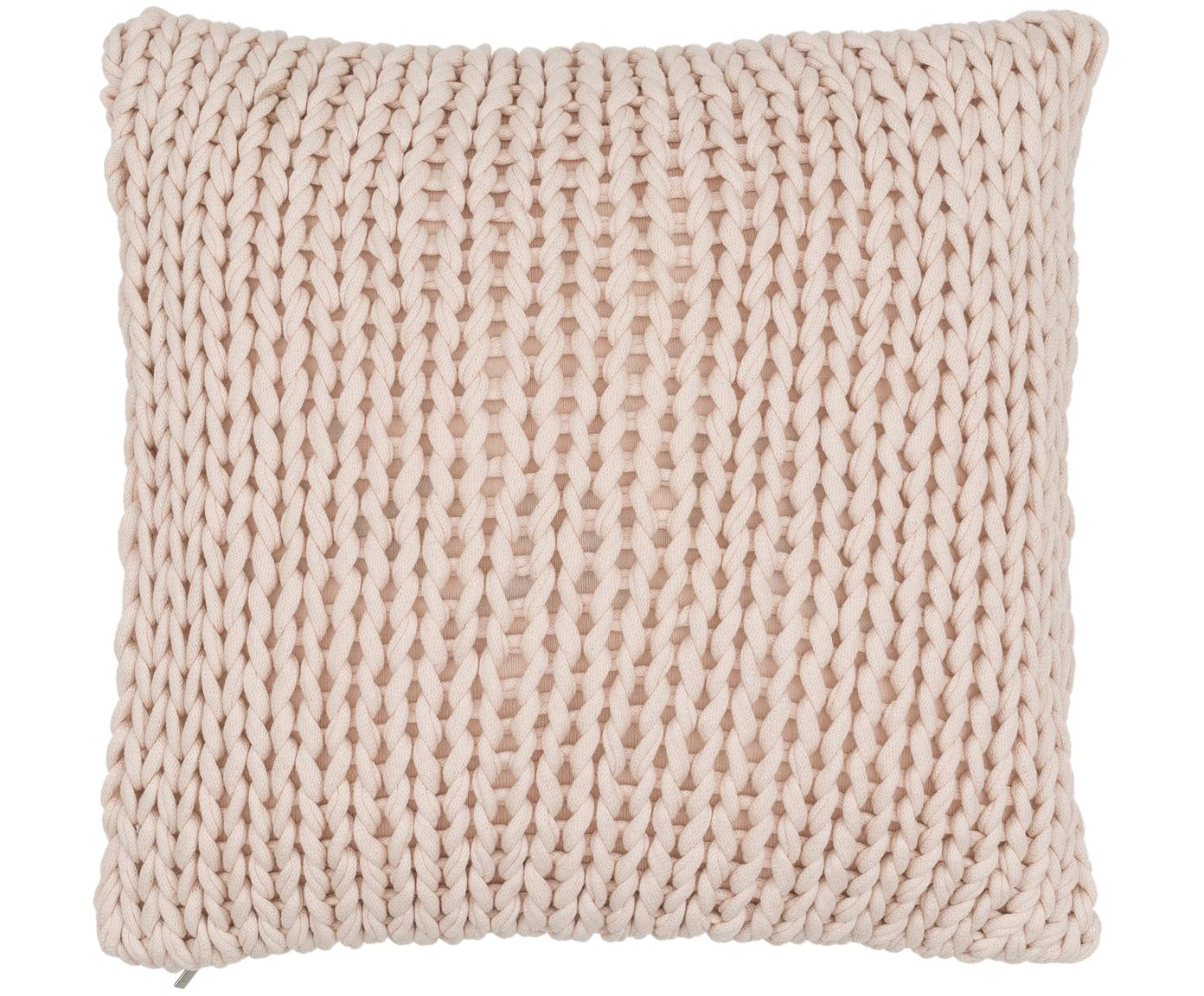 Kussenhoes Big Knit, Katoen, Poederroze, 50 x 50 cm