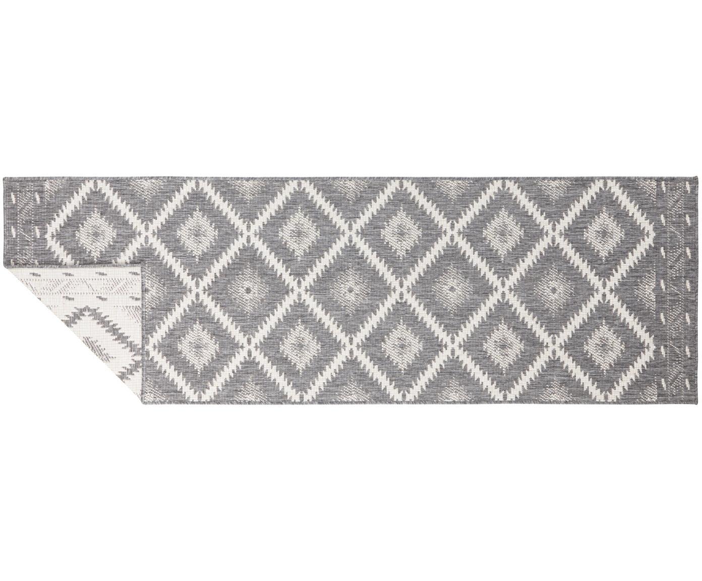 Alfombra reversible de interior y exterior Malibu, Gris, crema, An 80 x L 250 cm