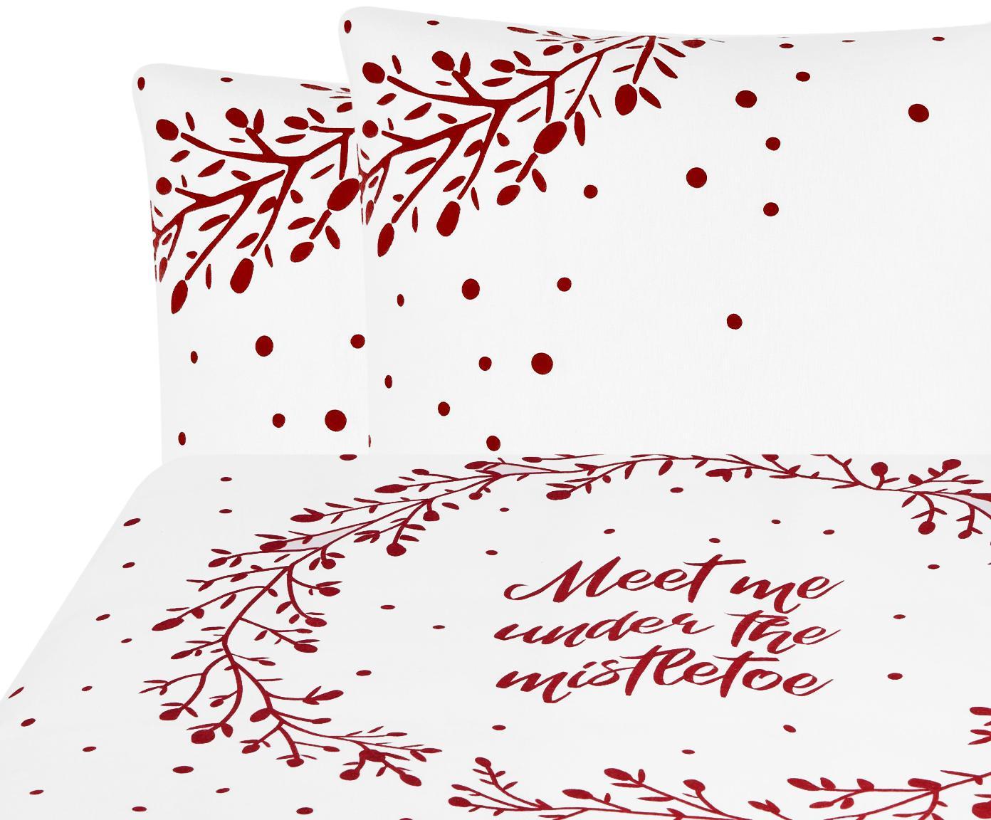 Flanell-Bettwäsche Mistletoe in Weiß/Rot, Webart: Flanell Flanell ist ein s, Weiß, Rot, 200 x 200 cm