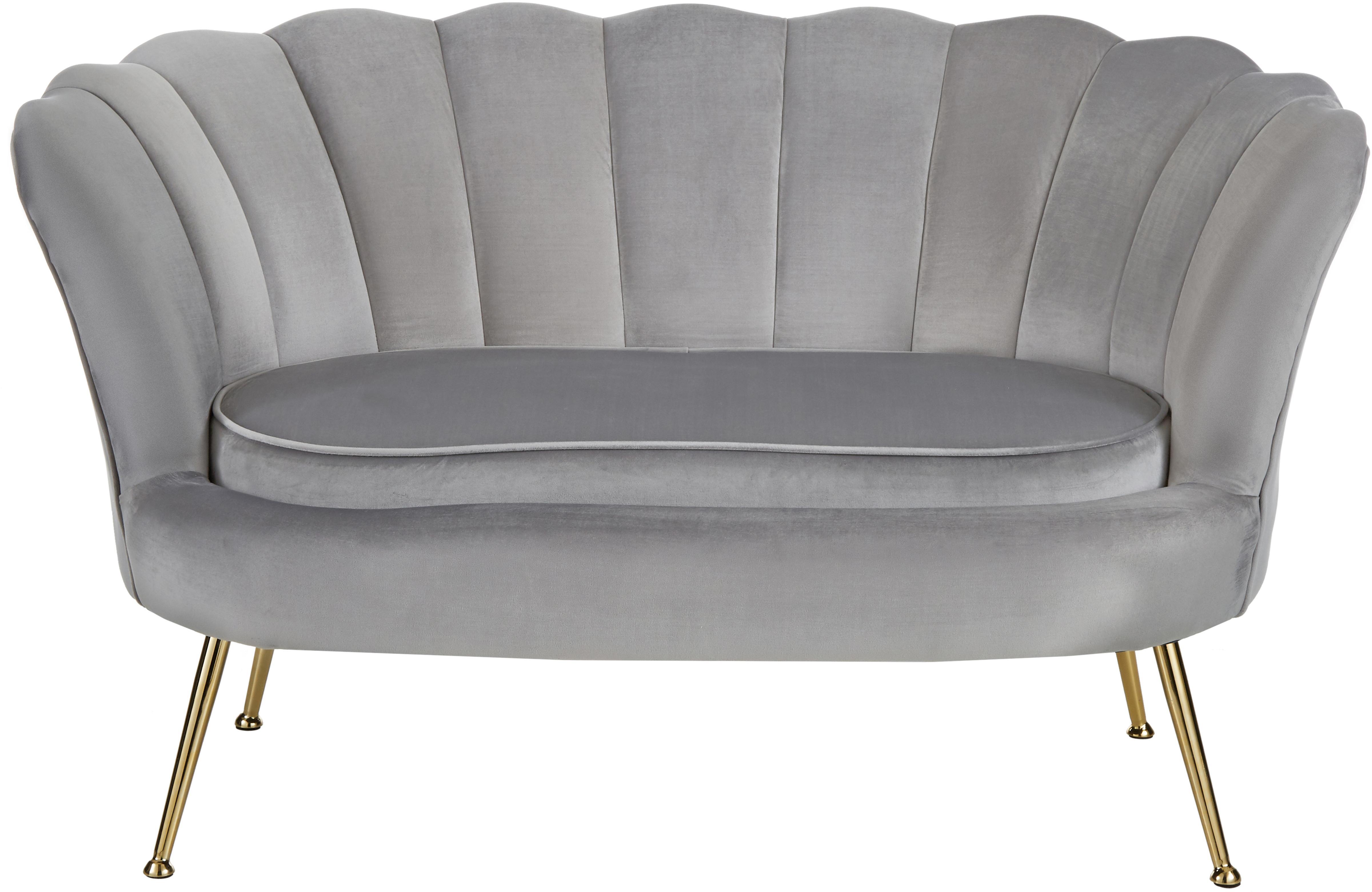Samt-Sofa Oyster (2-Sitzer), Bezug: Samt (Polyester) 20.000 S, Gestell: Massives Pappelholz, Sper, Füße: Metall, galvanisiert, Samt Grau, B 131 x T 78 cm