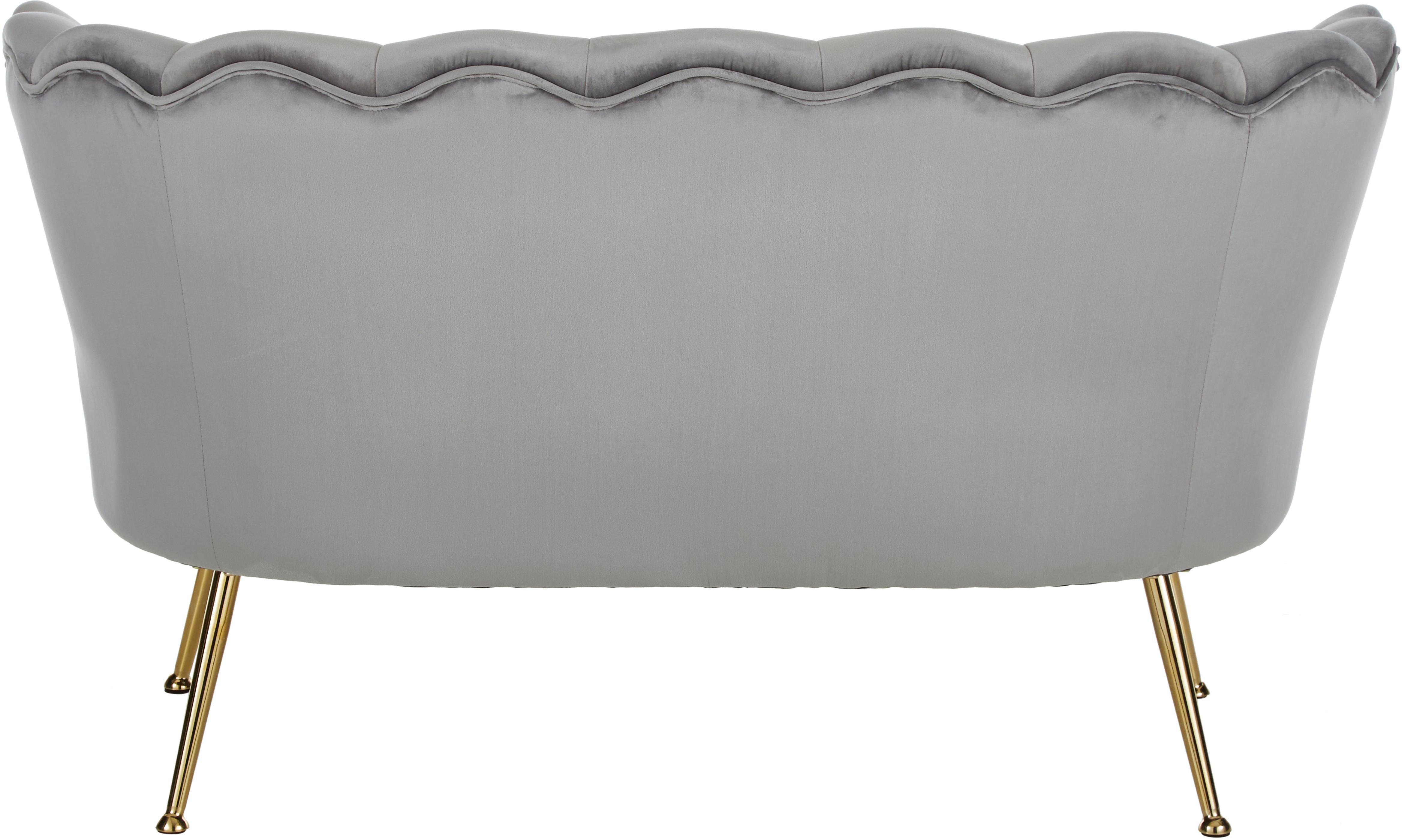 Divano vintage 2 posti in velluto grigio Oyster, Rivestimento: velluto (poliestere) 20.0, Struttura: legno di pioppo massiccio, Seduta: imbottitura in schiuma, f, Piedini: metallo zincato, Grigio, Larg. 131 x Prof. 78 cm