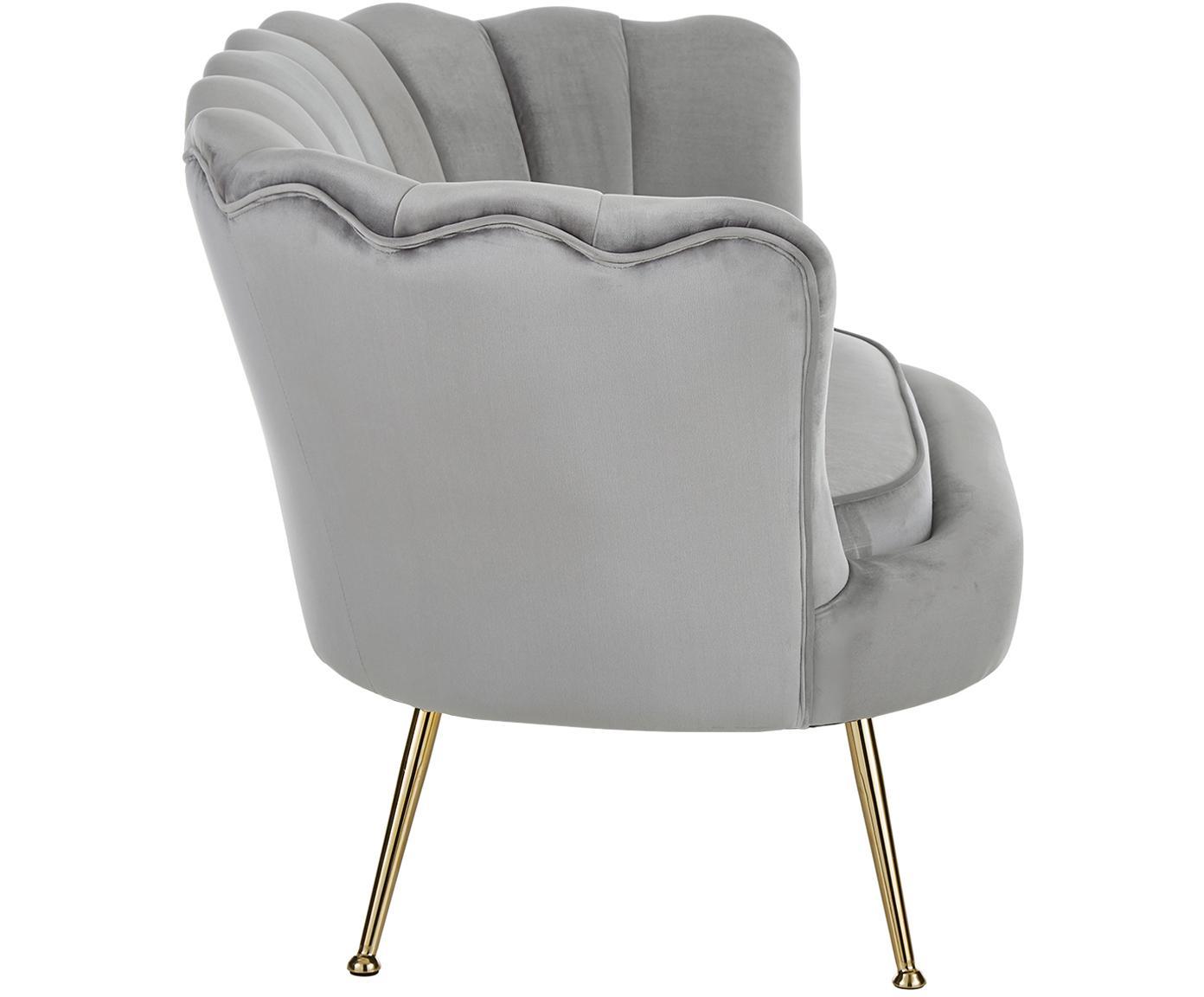 Sofa z aksamitu Oyster (2-osobowa), Tapicerka: aksamit (poliester) 20 00, Stelaż: lite drewno topoli, sklej, Nogi: metal galwanizowany, Szary, S 131 x G 78 cm