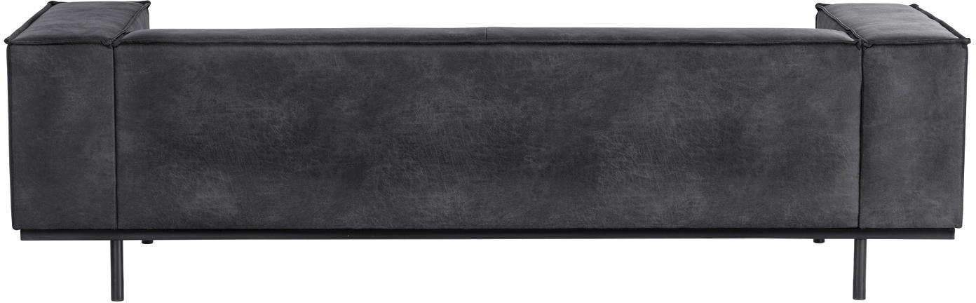 Leder-Sofa Abigail (2-Sitzer), Bezug: Lederfaserstoff (70% Lede, Beine: Stahl, lackiert, Leder Dunkelgrau, B 190 x T 95 cm