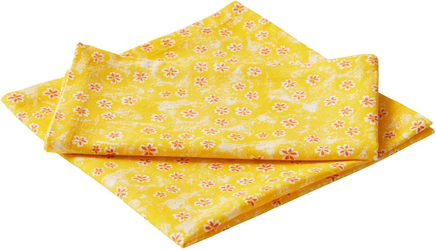 Gebloemde katoenen servetten Ono York, 2 stuks, Katoen, Geel, rood, 45 x 45 cm