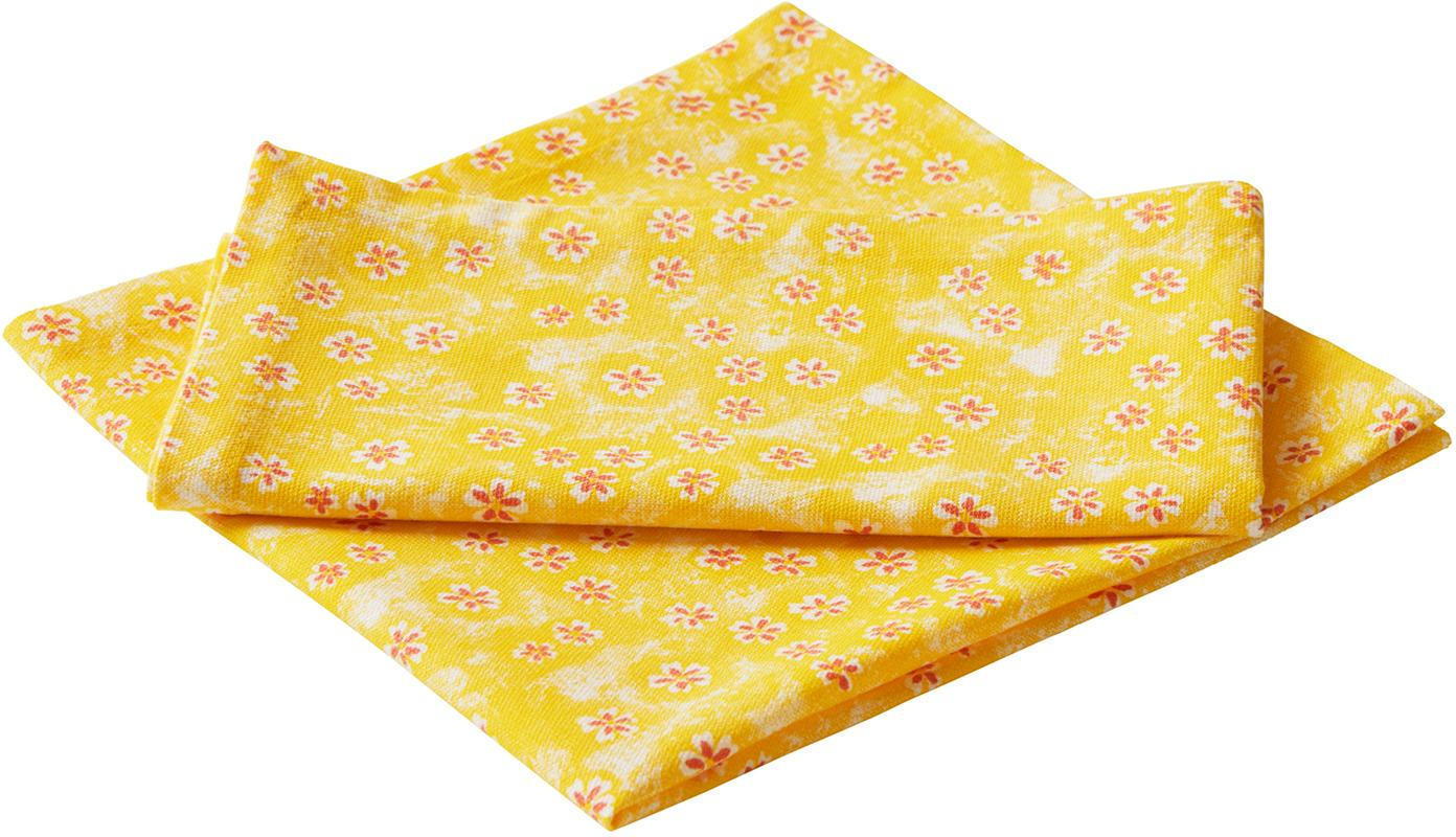 Geblümte Baumwoll-Servietten Ono York, 2 Stück, Baumwolle, Gelb, Rot, 45 x 45 cm