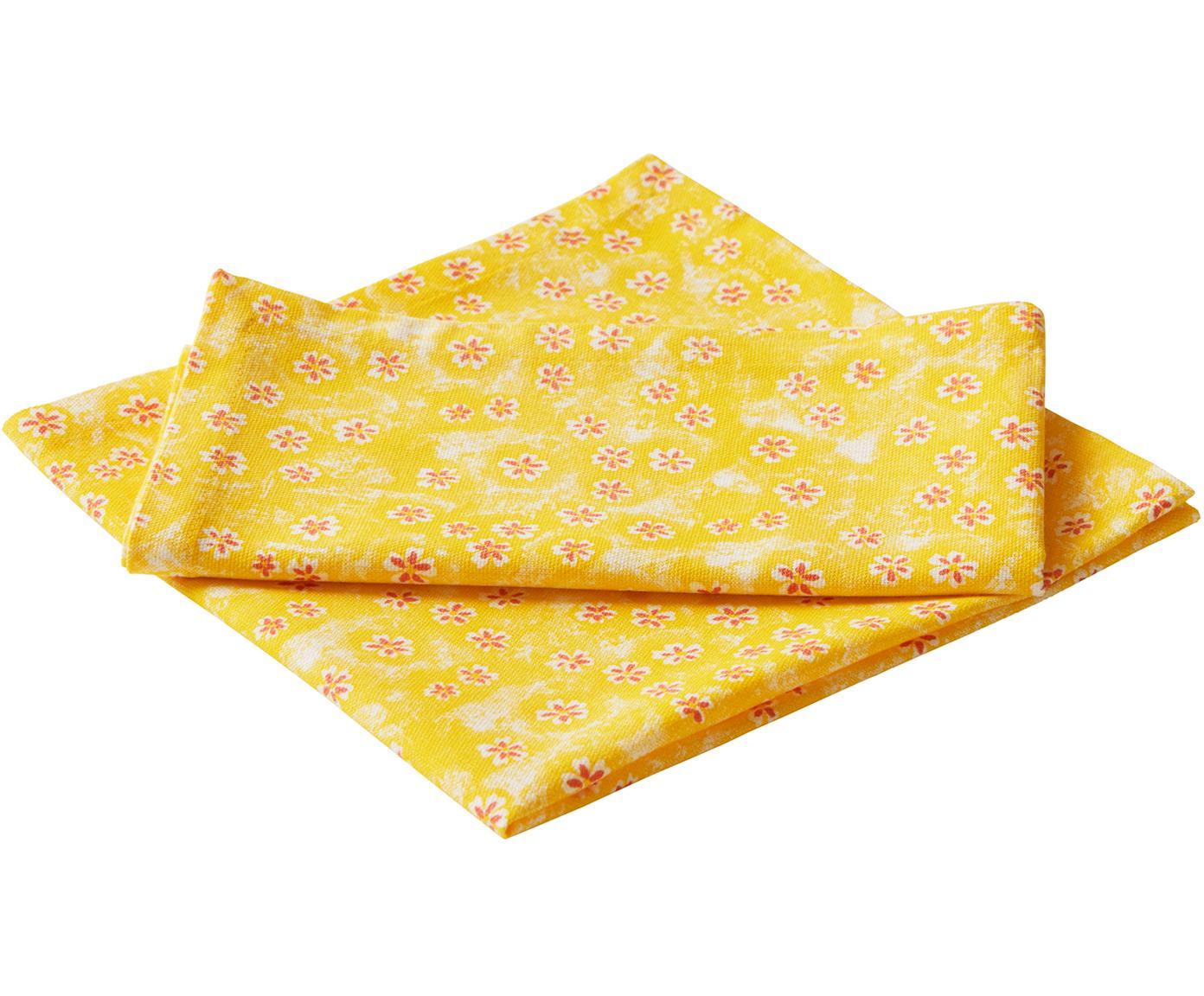 Tovagliolo in cotone a fiori Ono York 2 pz, Cotone, Giallo, rosso, Larg. 45 x Lung. 45 cm