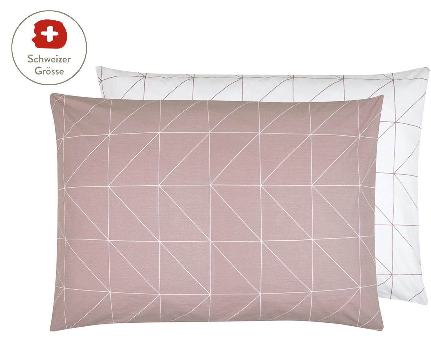 Baumwoll-Wendekissenbezug Marla mit grafischem Muster, Webart: Renforcé Fadendichte 144 , Mauve, Weiss, 50 x 70 cm
