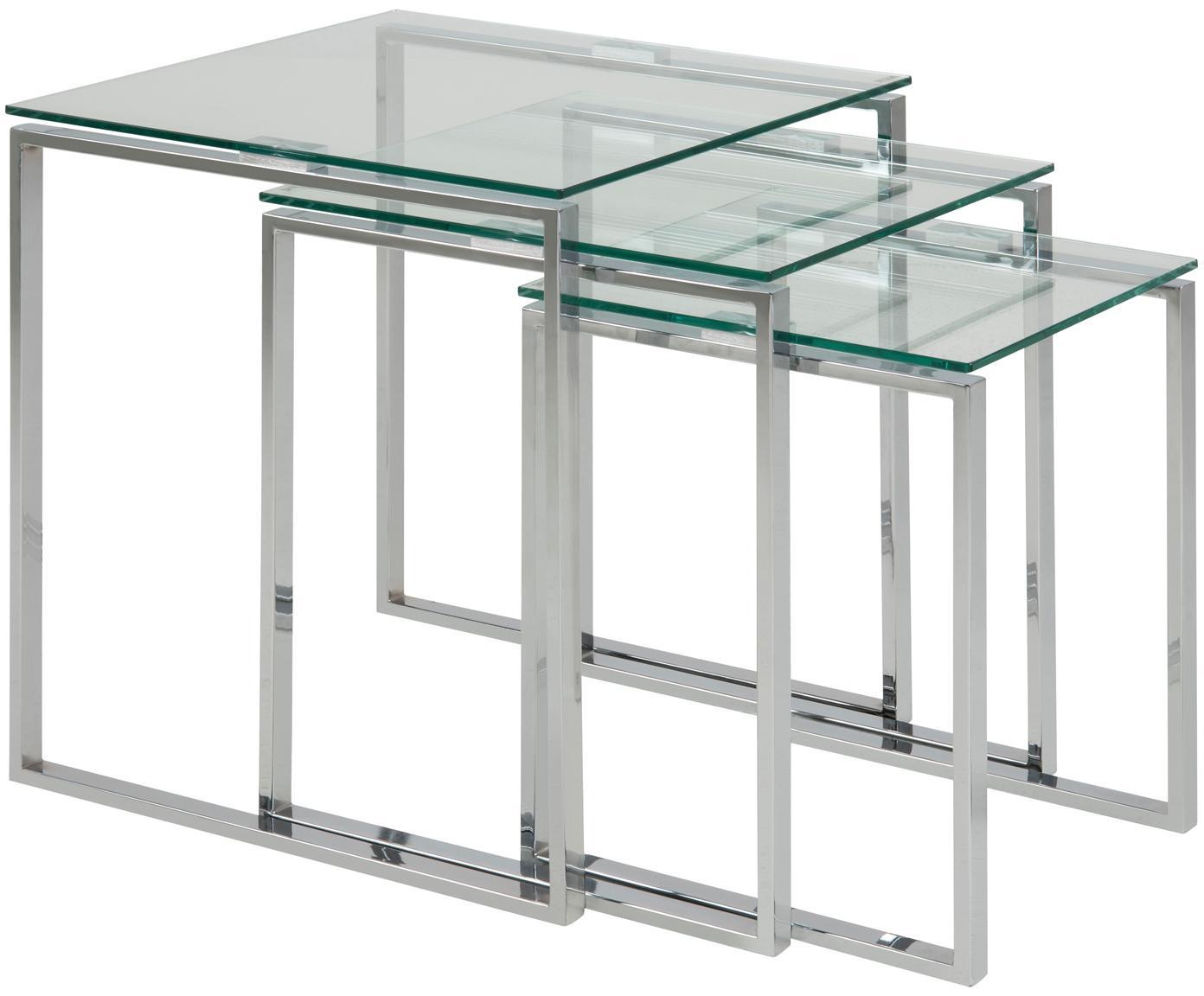 Set de mesas auxiliares Katrine, 3uds., tablero de cristal, Estructura: acero, cromado, Tablero: vidrio laminado, Cromo, transparente, Tamaños diferentes