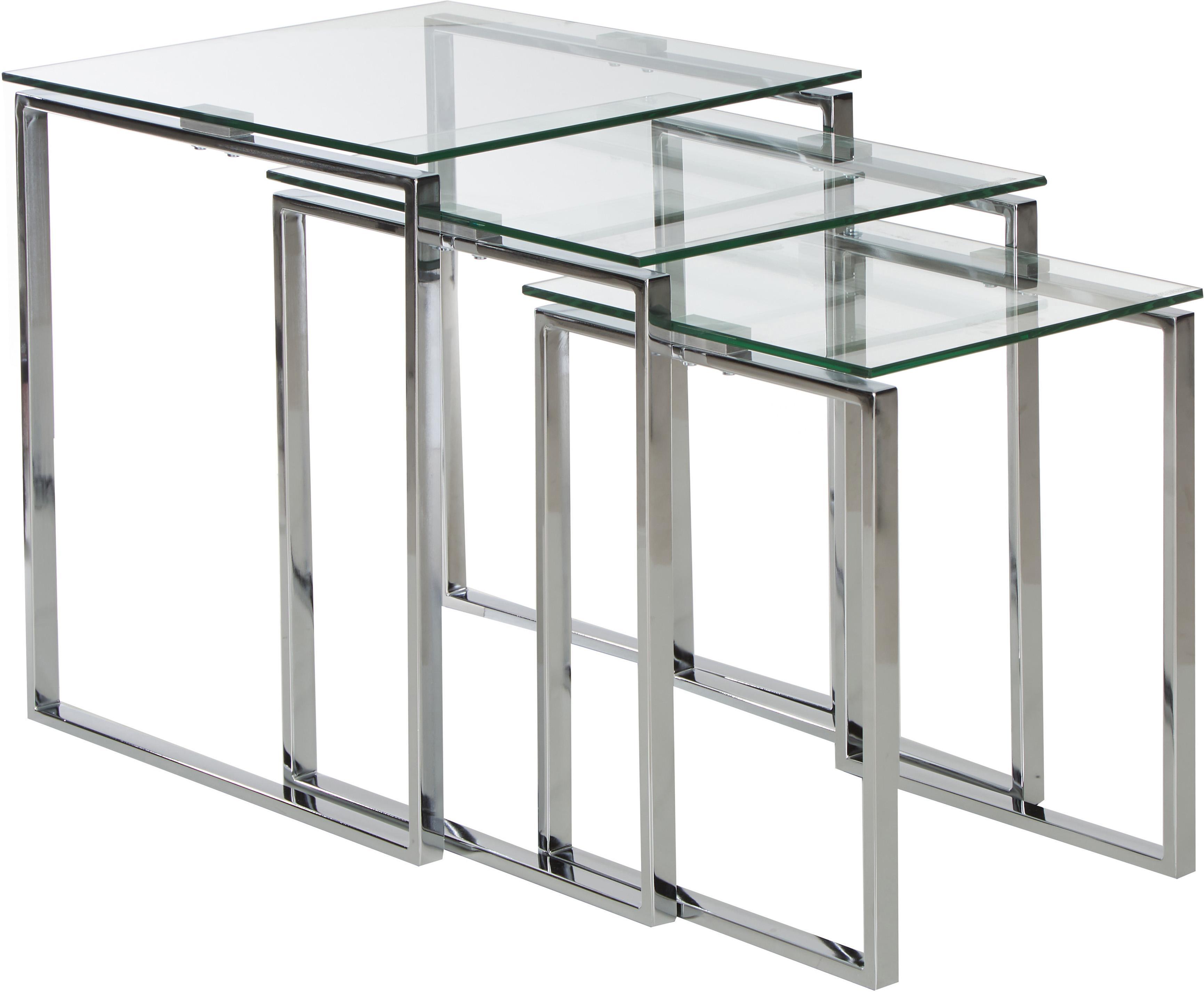 Bijzettafelset Katrine, 3-delig, Frame: verchroomd staal, Tafelblad: veiligheidsglas, Chroomkleurig, transparant, Set met verschillende formaten