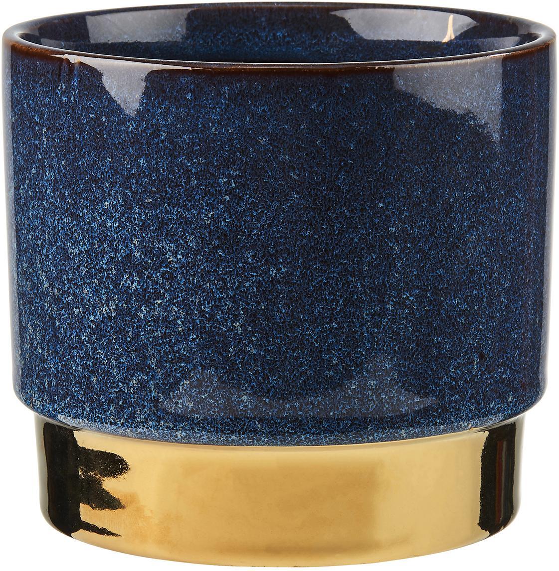 Übertopf Golden Touch aus Steingut, Steingut, Blau, Goldfarben, Ø 15 x H 13 cm