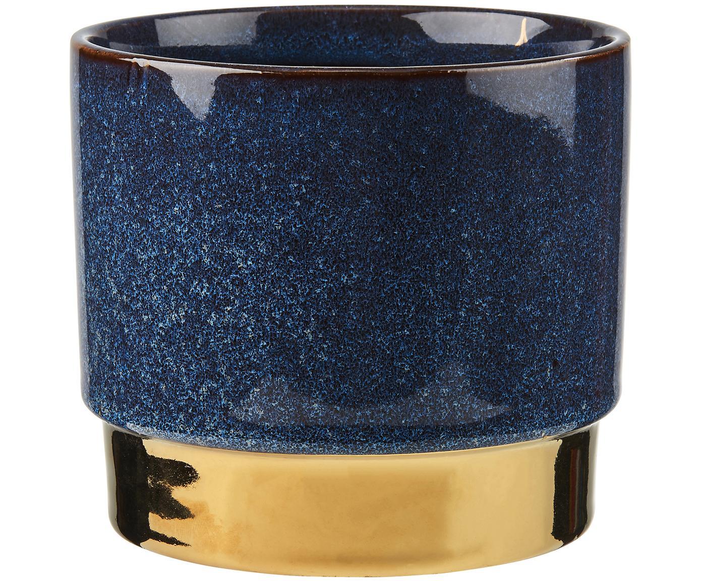 Übertopf Golden Touch, Steingut, Blau, Goldfarben, Ø 15 x H 13 cm