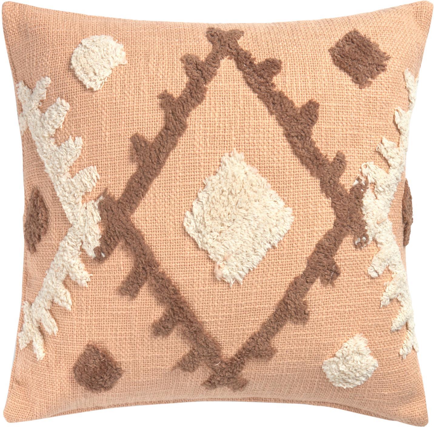 Boho kussenhoes Congo met hoog-laag patroon, 100% katoen, Zalmkleurig, beige, taupe, 45 x 45 cm