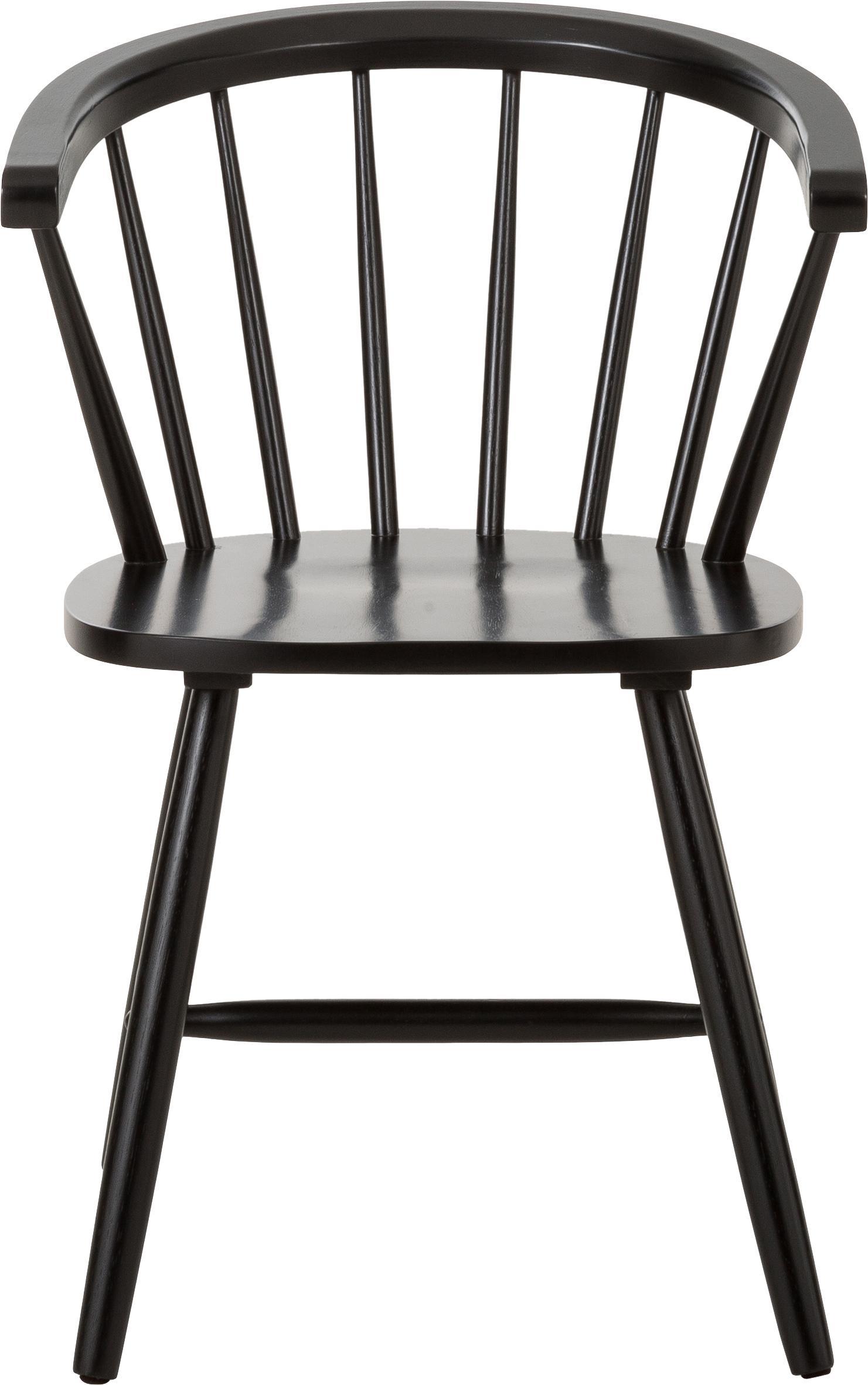 Windsor-Armlehnstühle Megan aus Holz, 2 Stück, Kautschukholz, lackiert, Schwarz, B 53 x T 52 cm