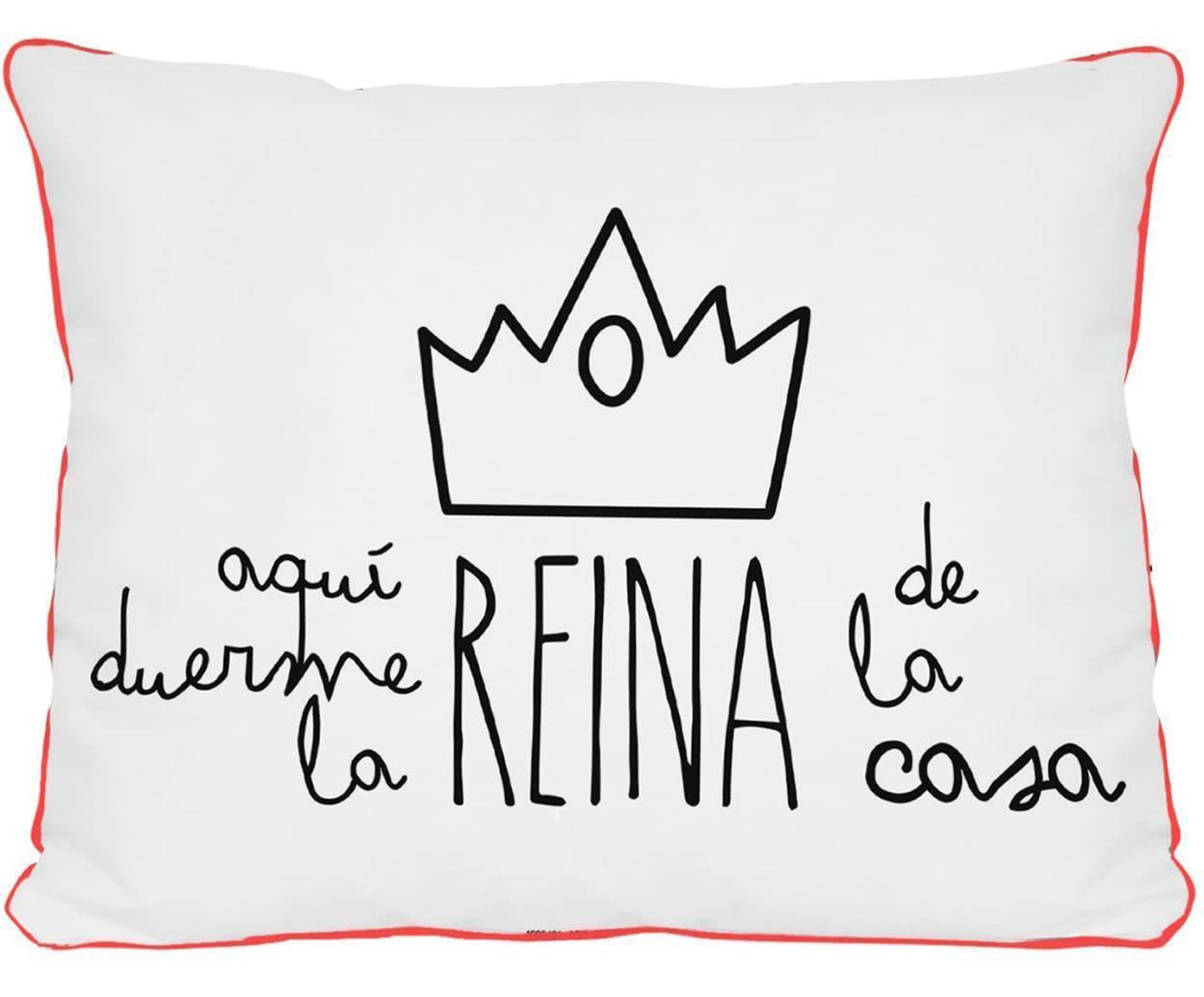 Cojín Rey, con relleno, Blanco, negro, rosa, An 50 x L 35 cm