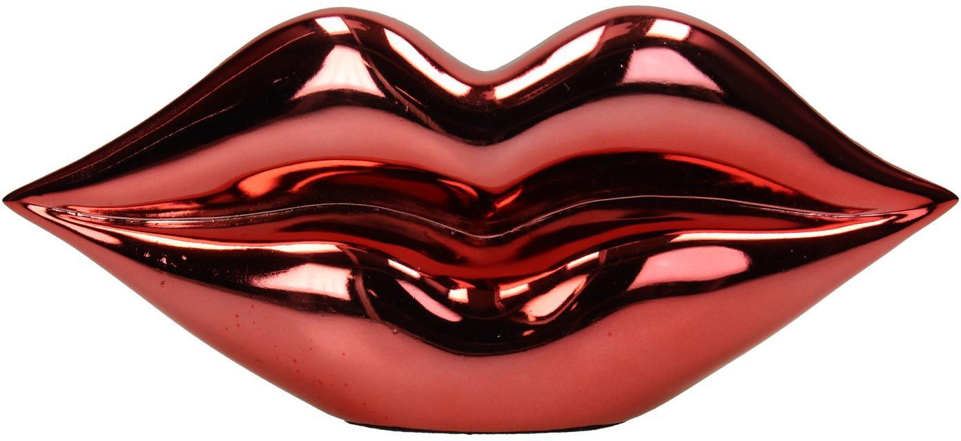 Deko-Objekt Lips, Polyresin, Rot, glänzend, 21 x 9 cm
