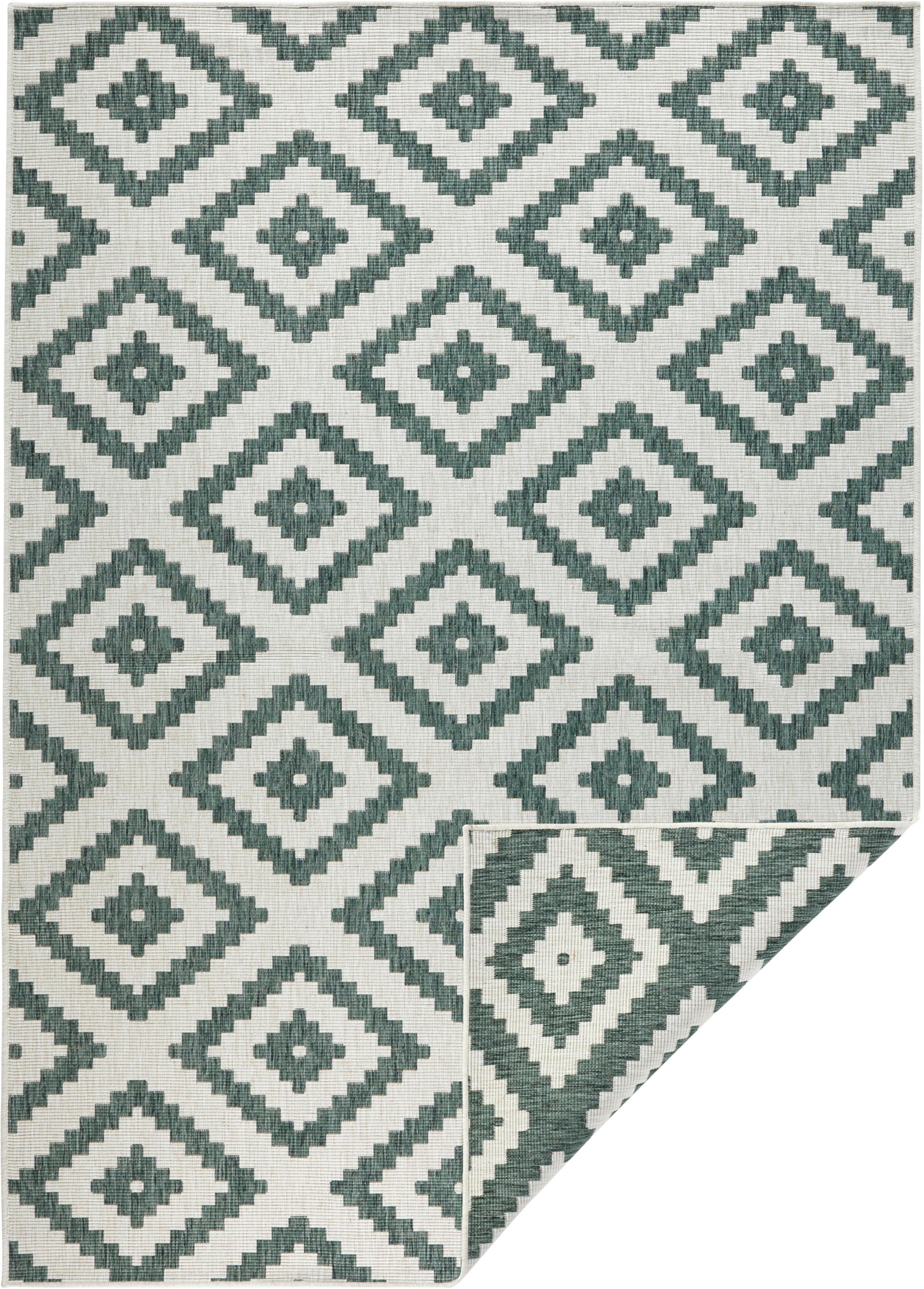 Dubbelzijdig in- en outdoor vloerkleed Malta, Groen, crèmekleurig, B 80 x L 150 cm (maat XS)