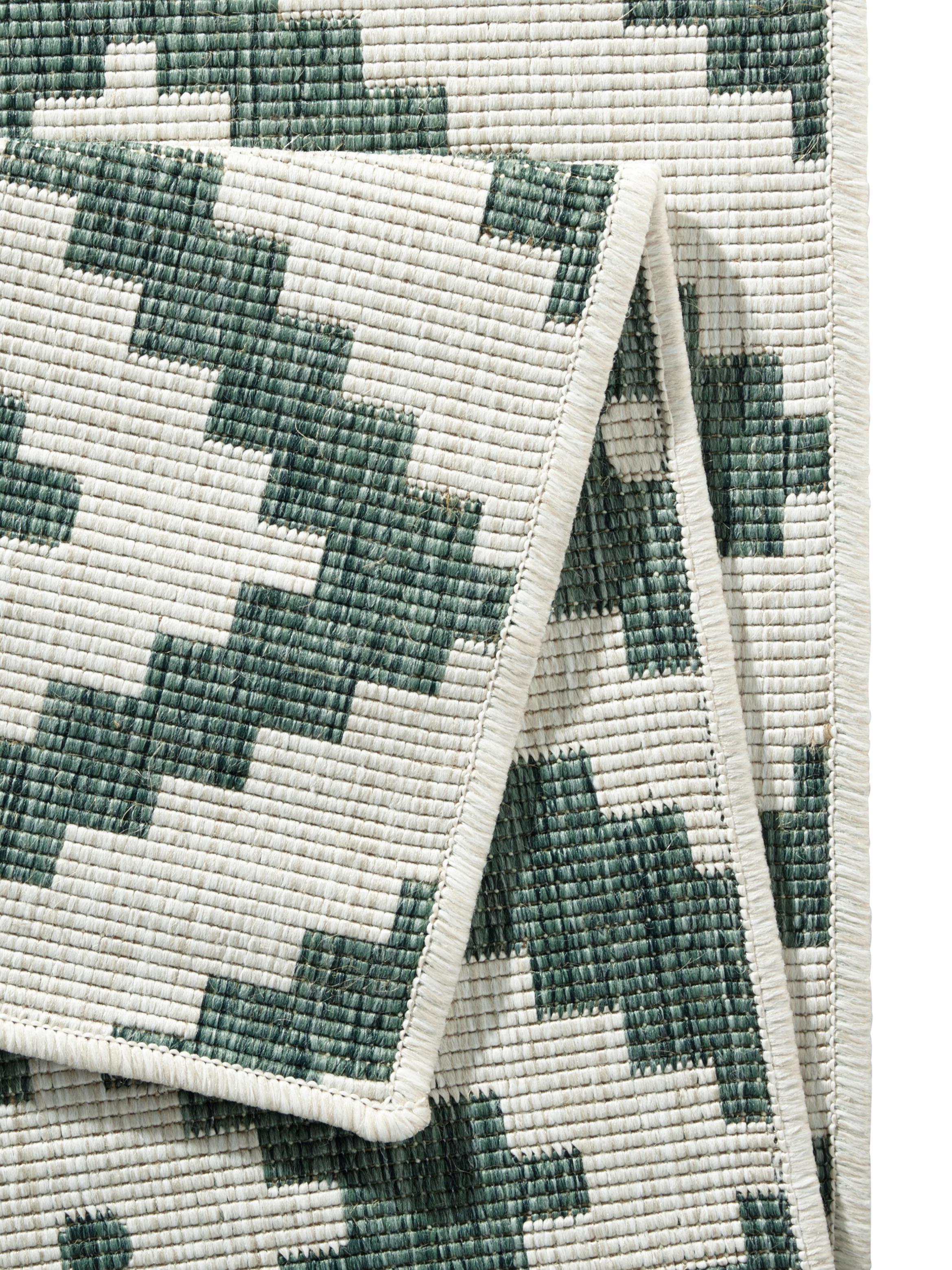 Tappeto reversibile da interno-esterno Malta, Verde, color crema, Larg. 80 x Lung. 150 cm (taglia XS)