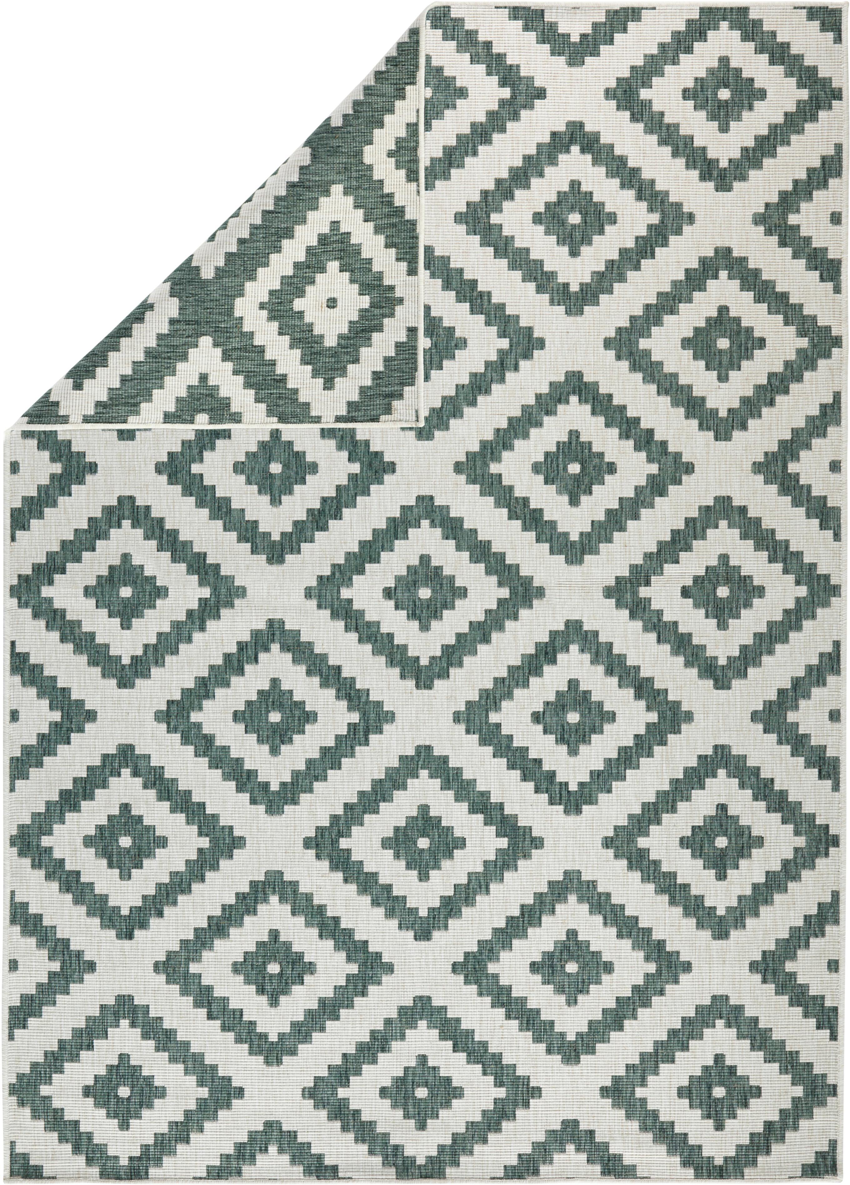 In- und Outdoor-Wendeteppich Malta in Grün/Creme, Grün, Cremefarben, B 80 x L 150 cm (Größe XS)