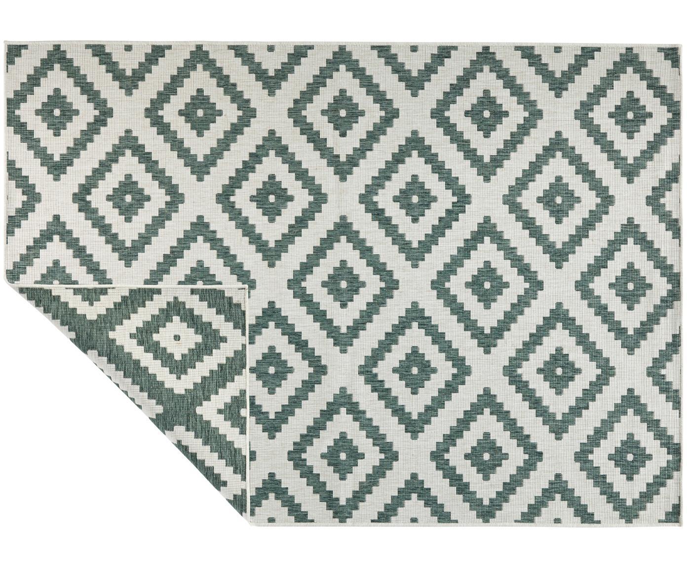 Alfombra reversible de interior/exterior Malta, Verde, crema, An 80 x L 150 cm (Tamaño XS)