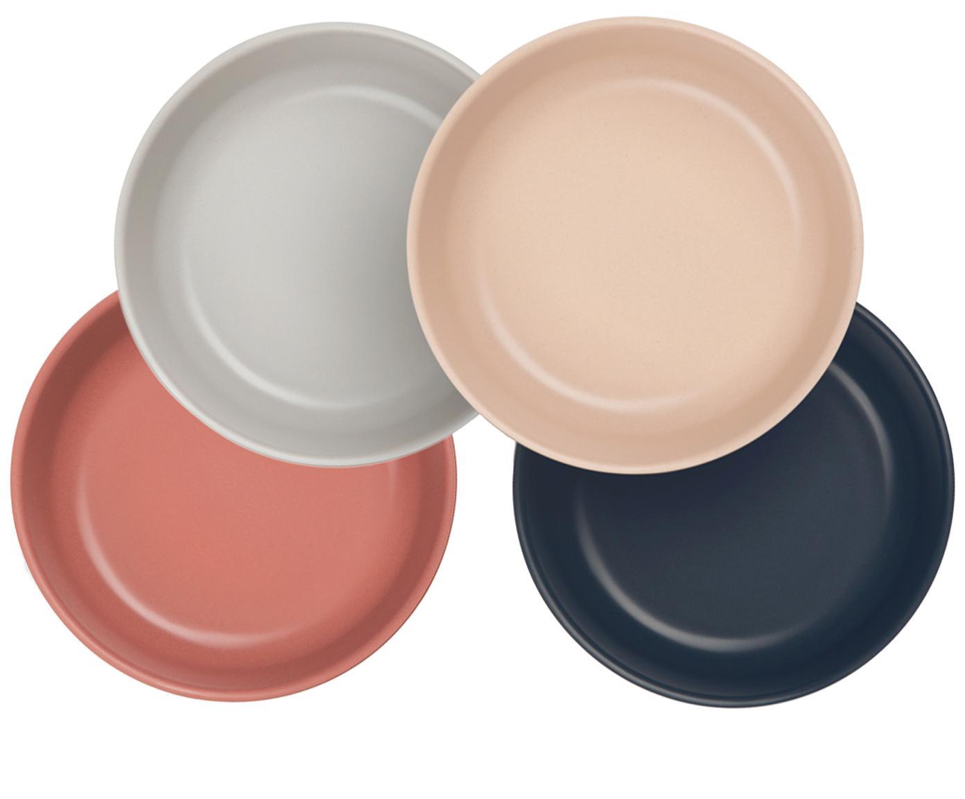 Schalenset Bambino, 4-delig, Bamboehoutvezels, melamine, voedselveilig BPA-, PVC- en ftalatenvrij, Zalmkleurig, lichtgrijs, grijs, terracottarood, Ø 15 x H 5 cm