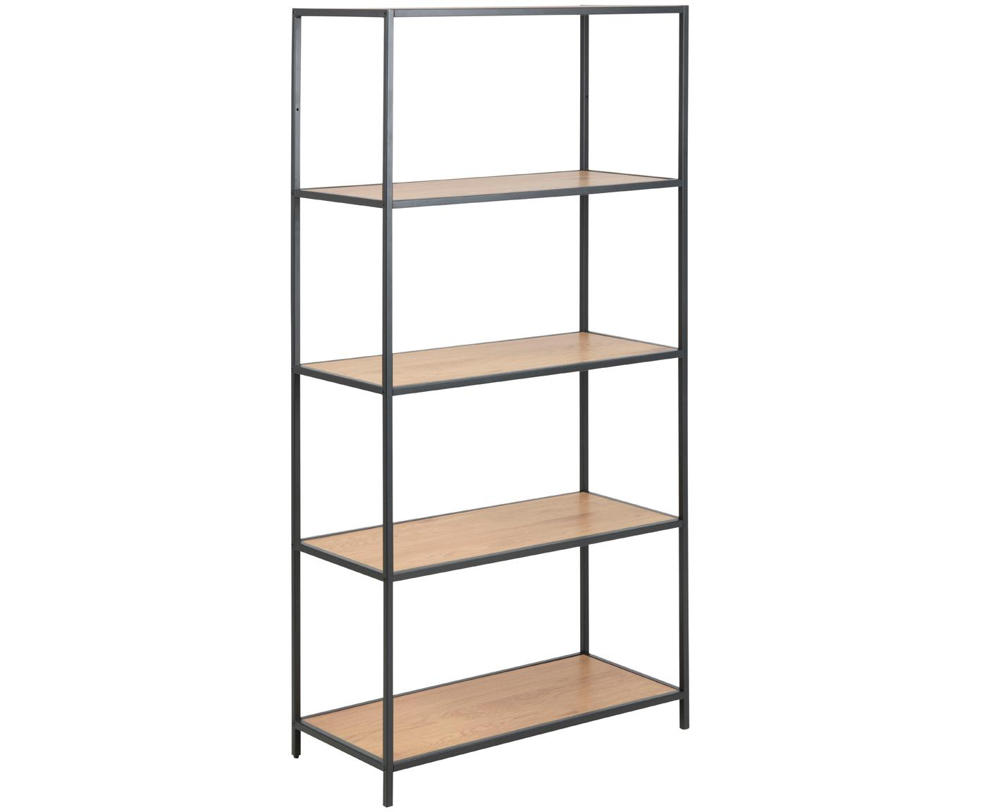 Stellingkast Seaford, Frame: gepoedercoat metaal, Planken: wild eikenhoutkleurig. Frame: zwart, 77 x 150 cm