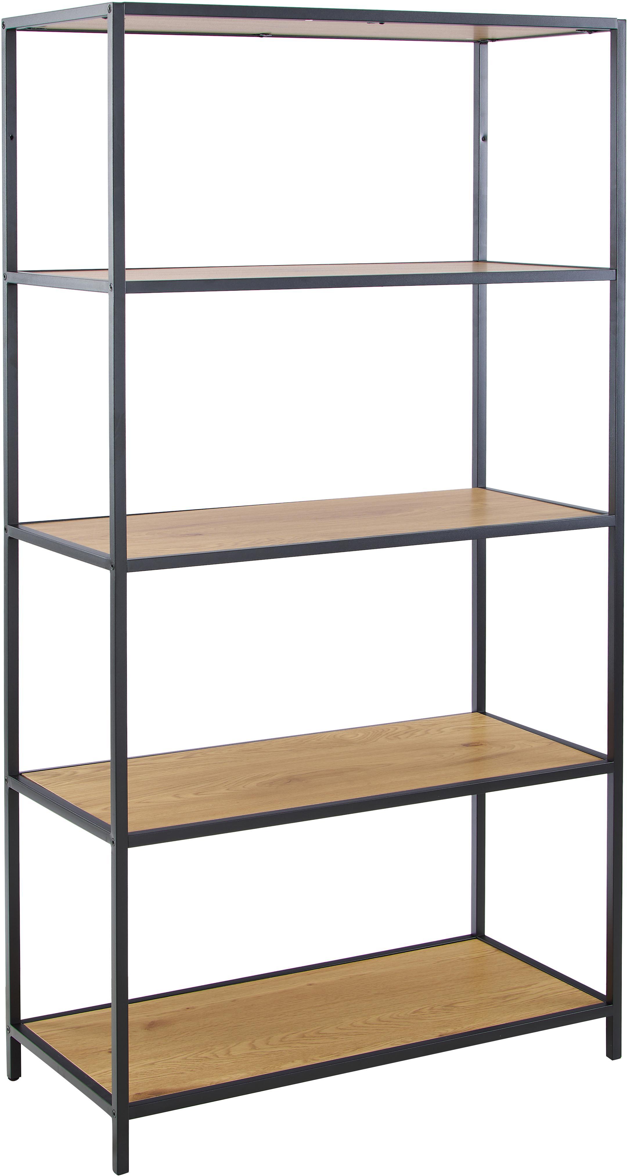 Regał z drewna i metalu Seaford, Stelaż: metal lakierowany proszko, Półki: dzikie drewno dębowe Stelaż: czarny, S 77 x W 150 cm