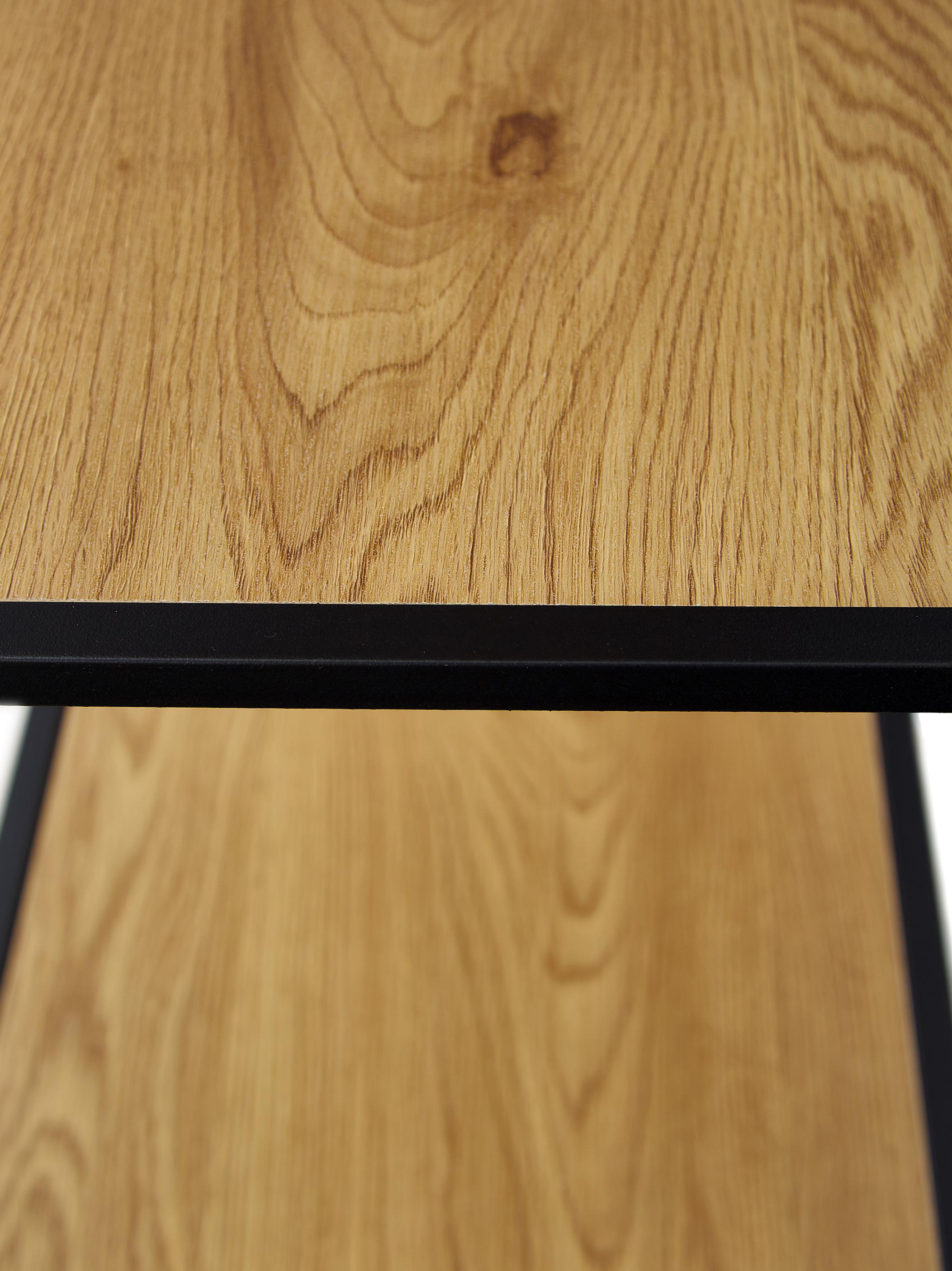 Standregal Seaford aus Holz und Metall, Einlegeböden: Mitteldichte Holzfaserpla, Gestell: Metall, pulverbeschichtet, Einlegeböden: Wildeiche Gestell: Schwarz, 77 x 150 cm