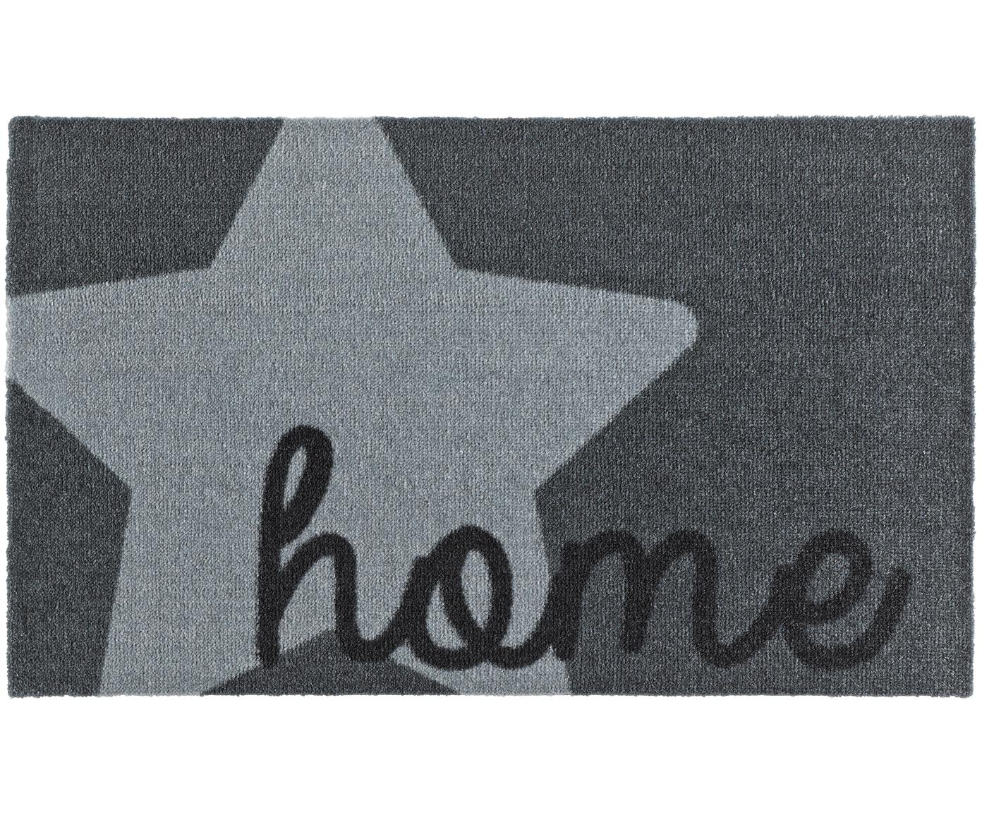 Deurmat Home, Bovenzijde: polyamide, Onderzijde: PVC, Grijstinten, 50 x 70 cm