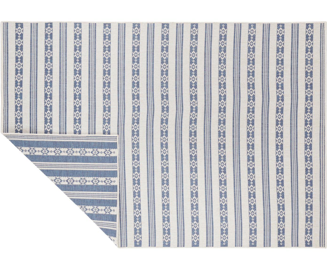 Dubbelzijdig in- & outdoor vloerkleed Fiji, Polypropyleen, Blauw, crèmekleurig, B 120 x L 170 cm (maat S)