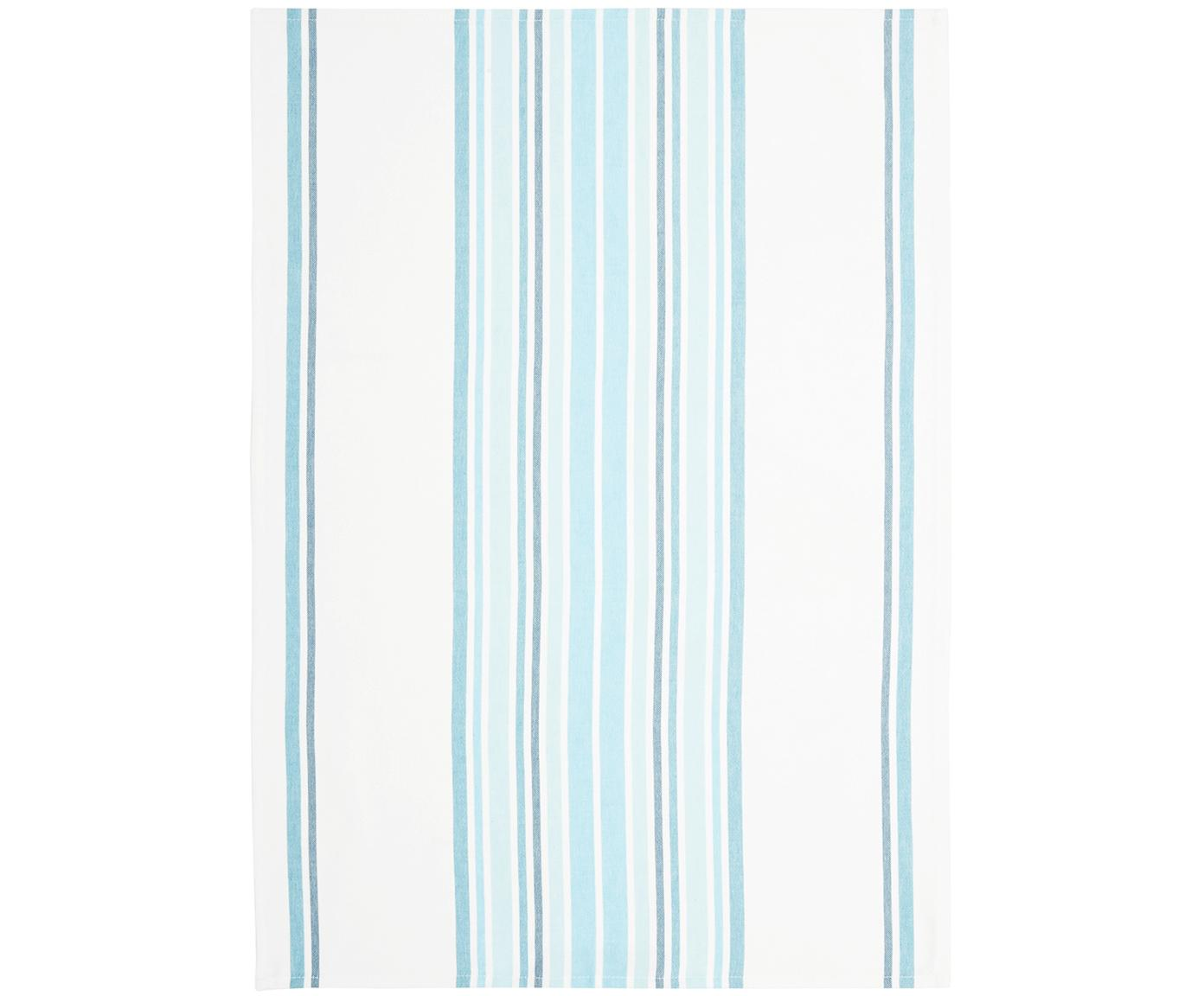 Theedoeken Katie, 2 stuks, Katoen, Wit, blauw, 50 x 70 cm