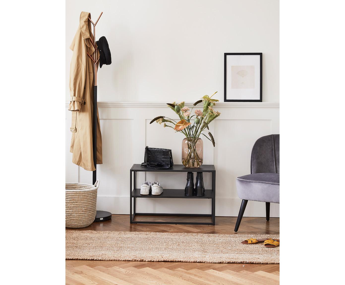 Zwart metalen schoenenrek Newton, Gepoedercoat metaal, Zwart, 70 x 45 cm