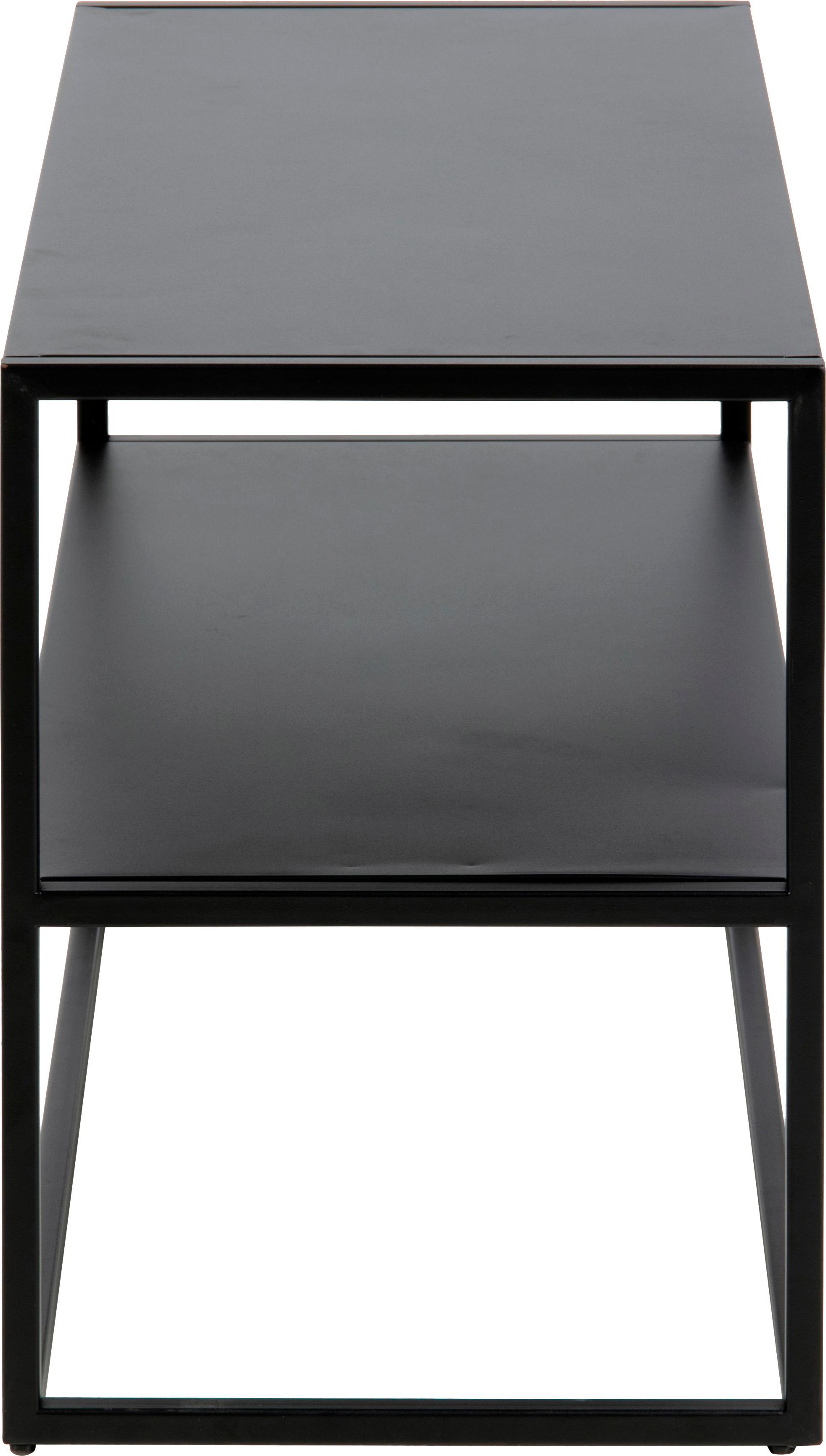 Metall-Schuhregal Newton mit 2 Ablageflächen, Metall, pulverbeschichtet, Schwarz, 70 x 45 cm