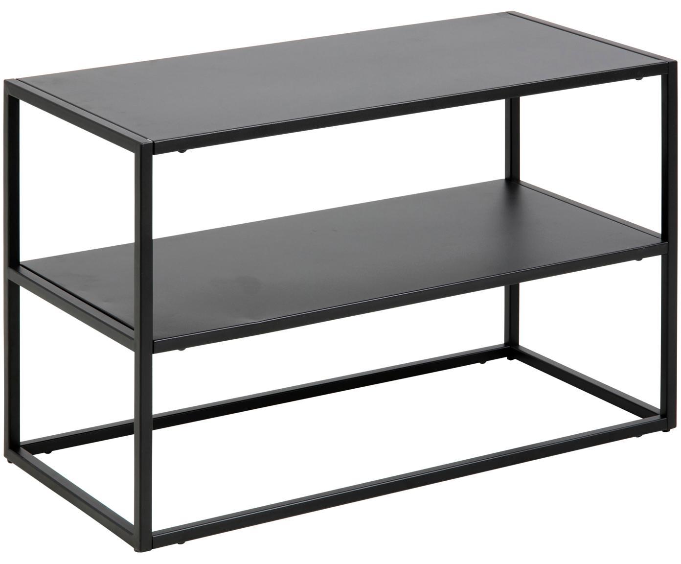 Półka na buty z metalu z 2 przedziałami Newton, Metal malowany proszkowo, Czarny, S 70 x W 45 cm
