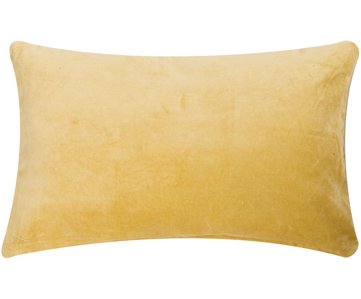Samt-Kissen Velvet in Gelb, mit Inlett, Vorderseite: Baumwollsamt, Rückseite: Wolle, Gelb, Hellbeige, 30 x 50 cm
