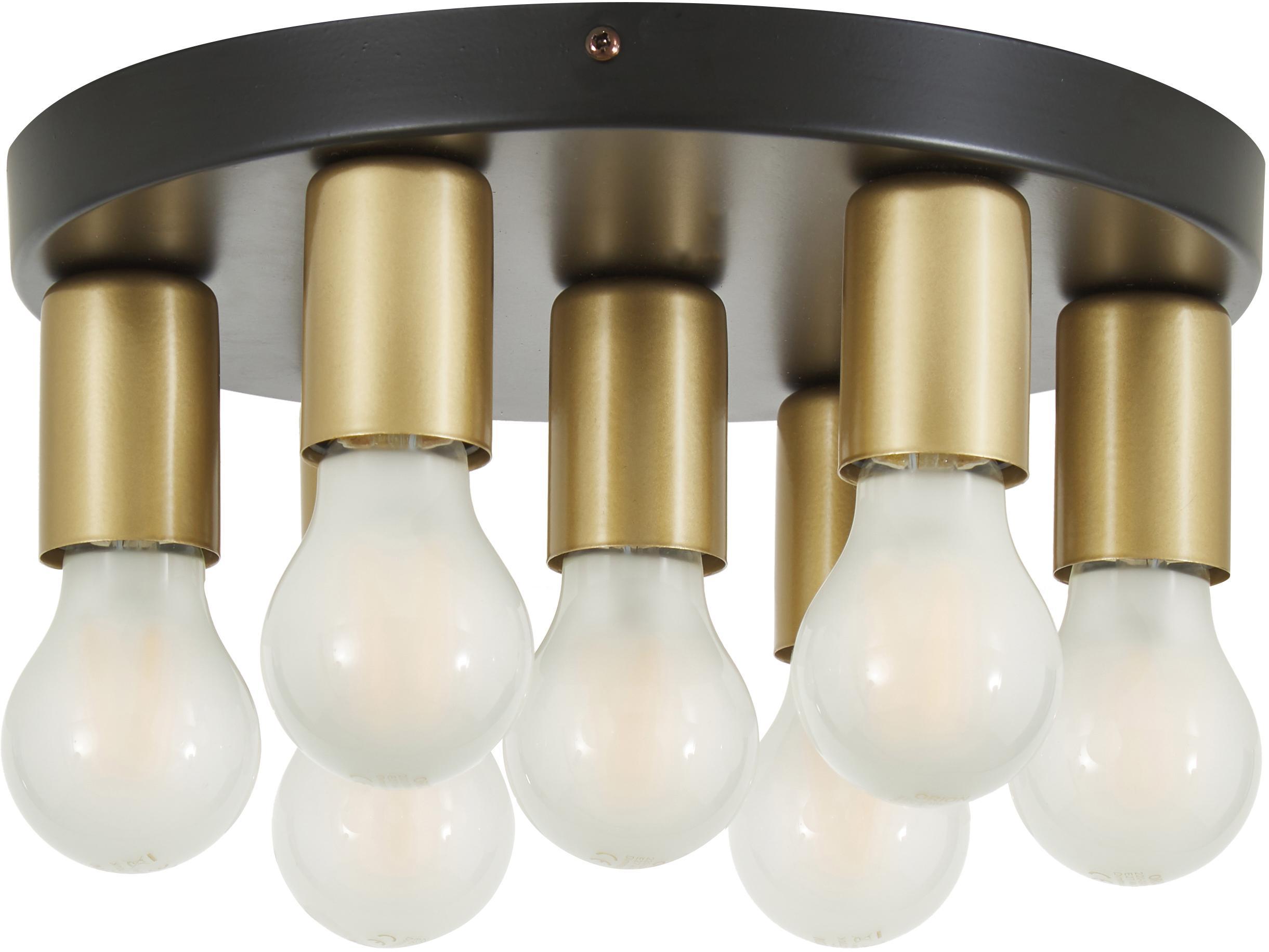 Plafondlamp Plate, Baldakijn: gelakt nikkel, Zwart, goudkleurig, Ø 30 x H 9 cm