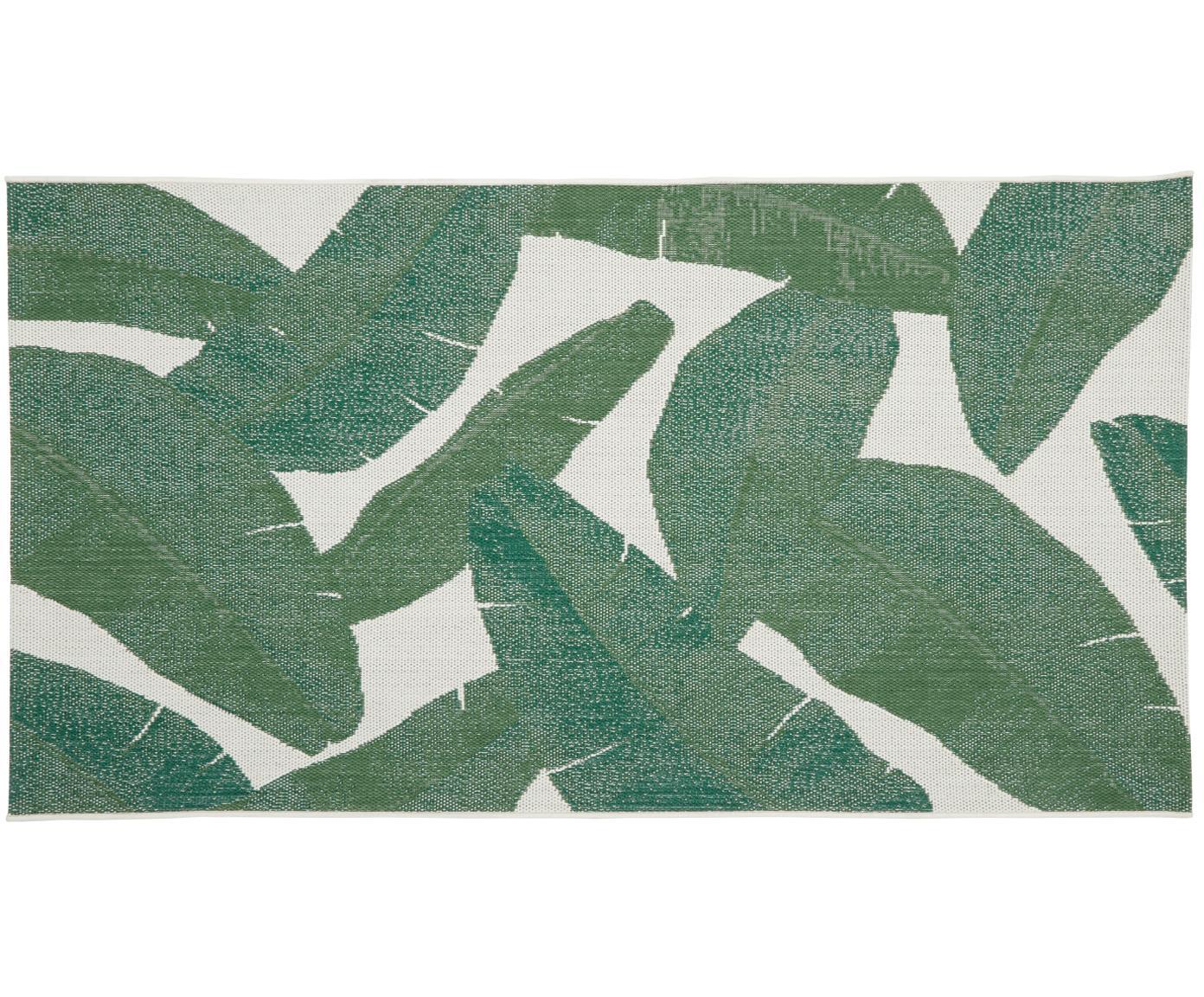 In- & outdoor vloerkleed Jungle, Bovenzijde: polypropyleen, Onderzijde: polyester, Crèmewit, groen, B 80 x L 150 cm (maat XS)
