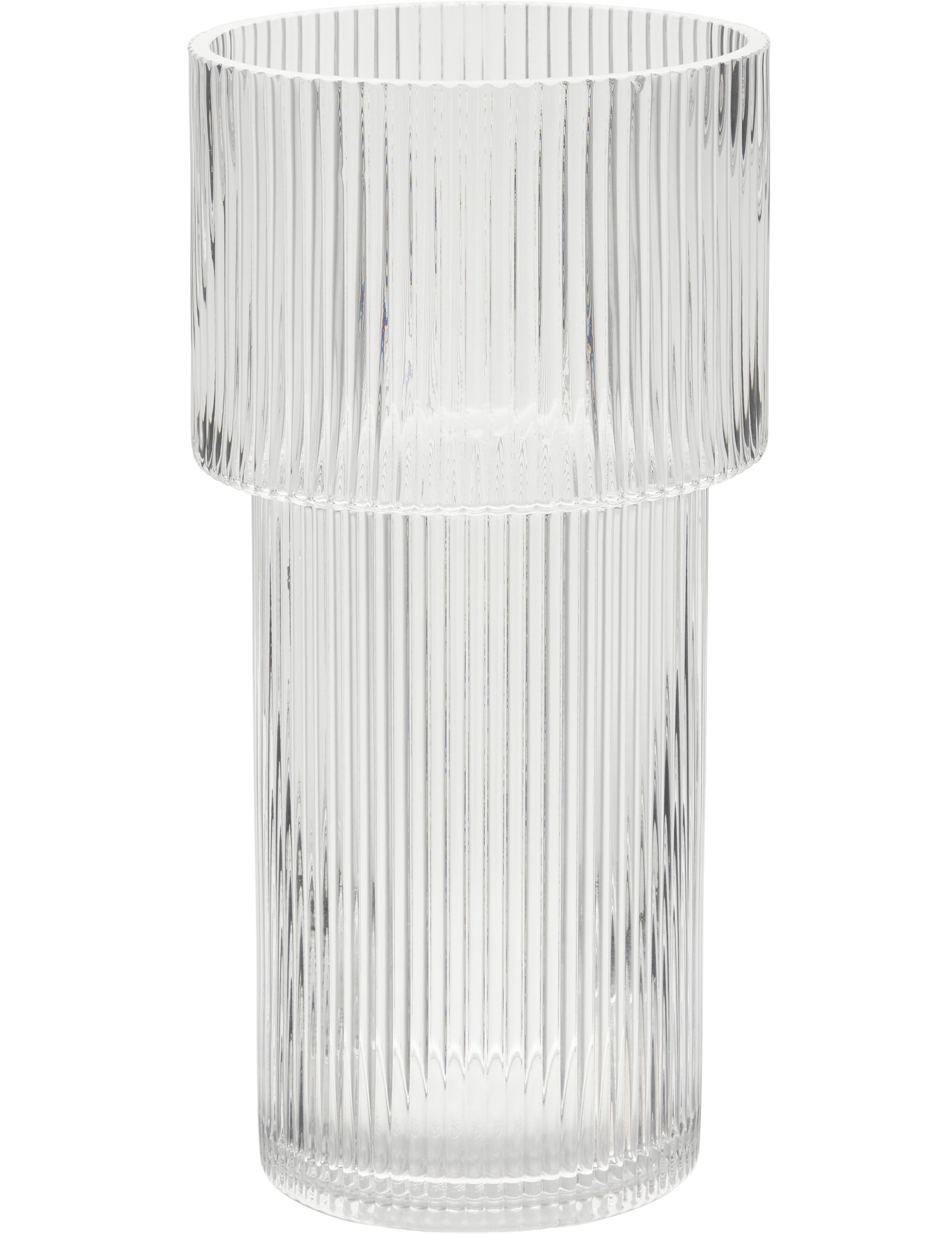 Vaas Lija, Glas, Grijs, transparant, Ø 14 x H 30 cm