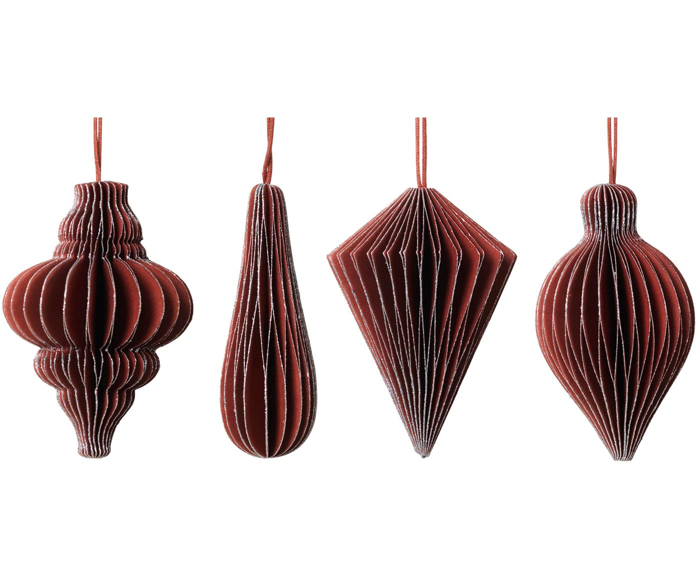 Baumanhänger-Set Winnie, 4-tlg., Papier, Rot, Silberfarben, Ø 5 x H 7 cm