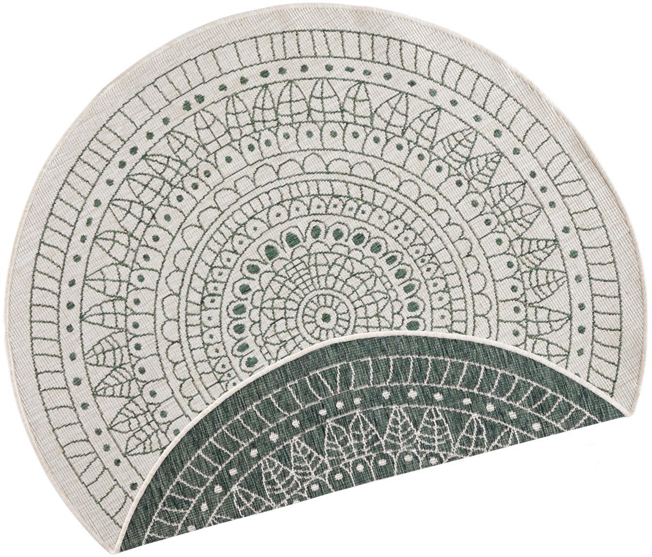 Okrągły dwustronny dywan wewnętrzny/zewnętrzny Porto, Zielony, kremowy, ∅ 140 cm (Rozmiar M)