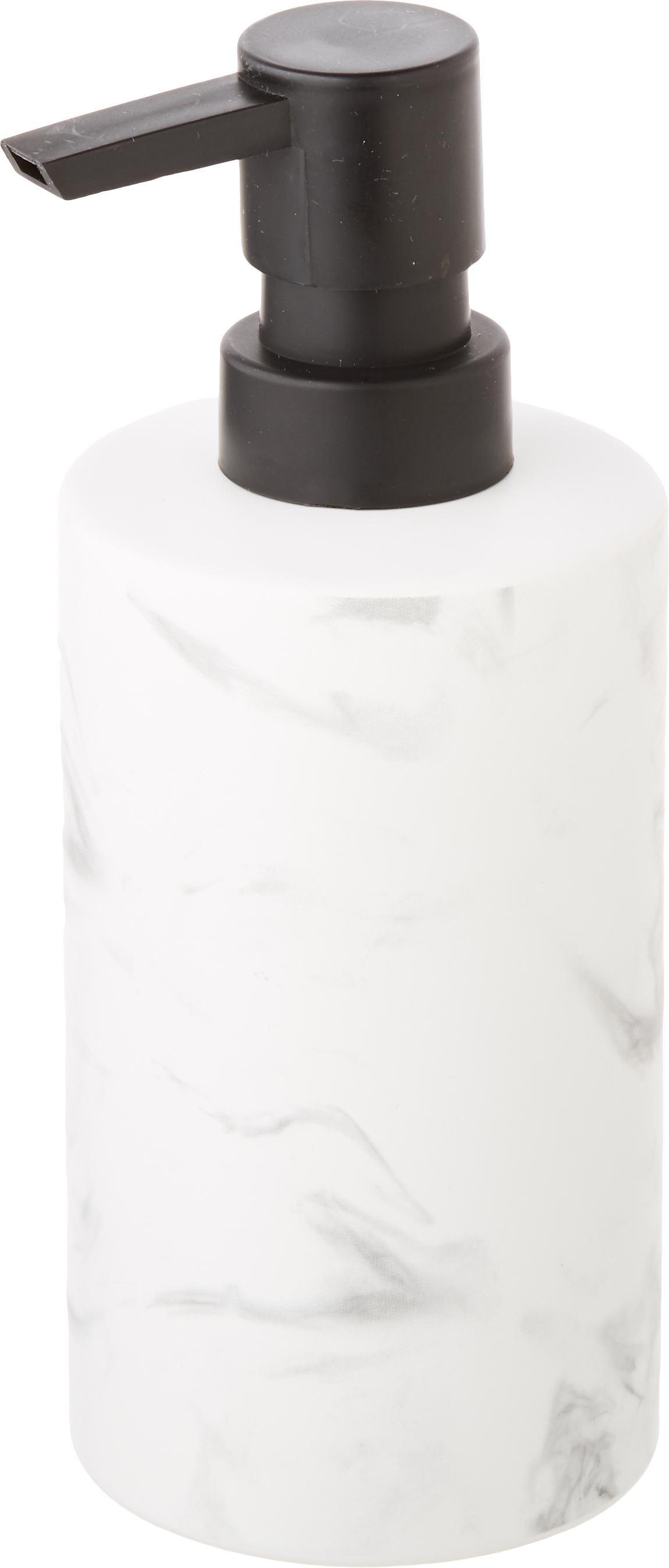 Dosificador de jabón Daro, Recipiente: cerámica, Dosificador: metal, recubierto, Blanco, negro, Ø 7 x Al 18 cm