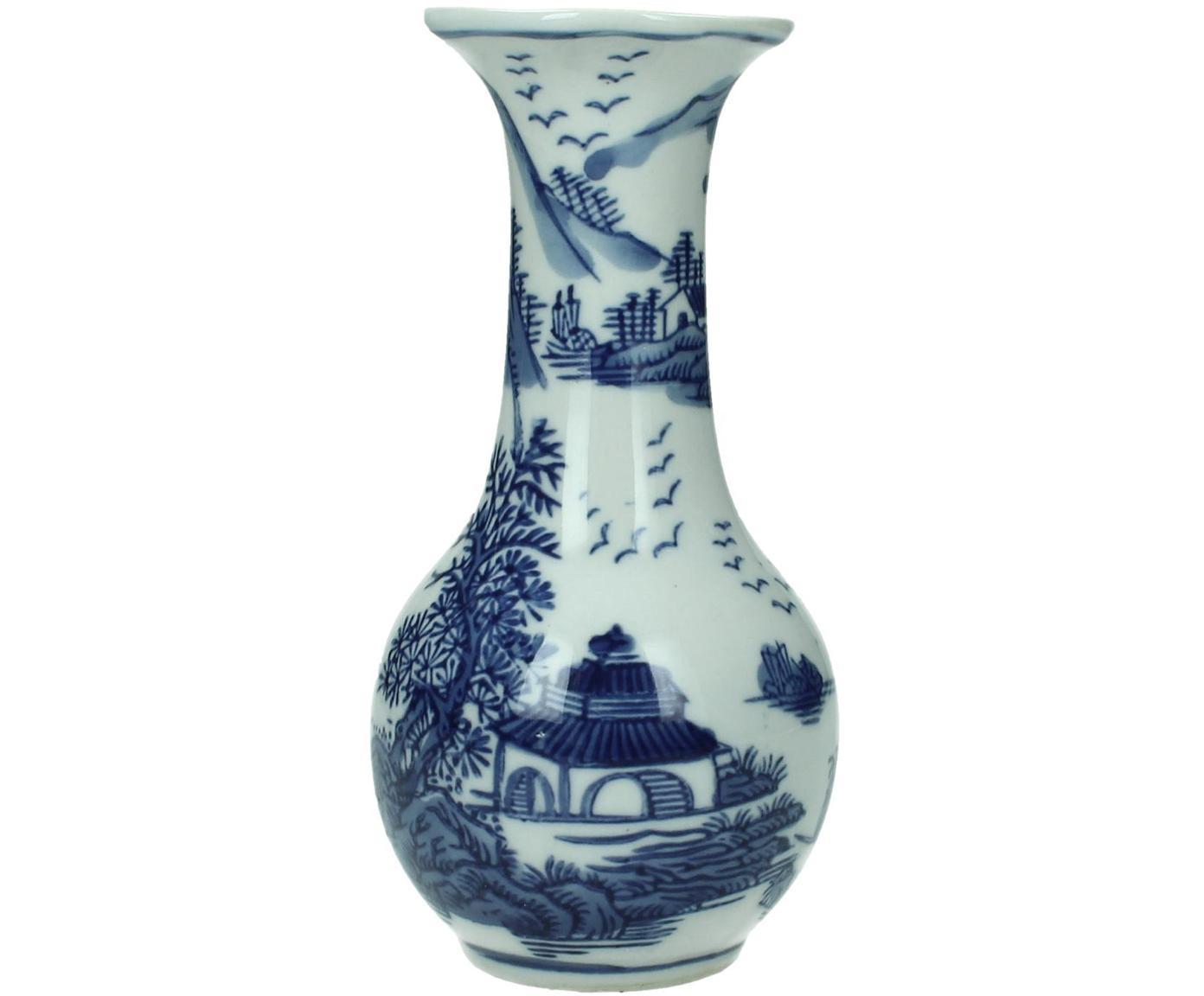 Vaso in ceramica Minno, Ceramica, Bianco latteo, blu, Ø 8 x Alt. 15 cm