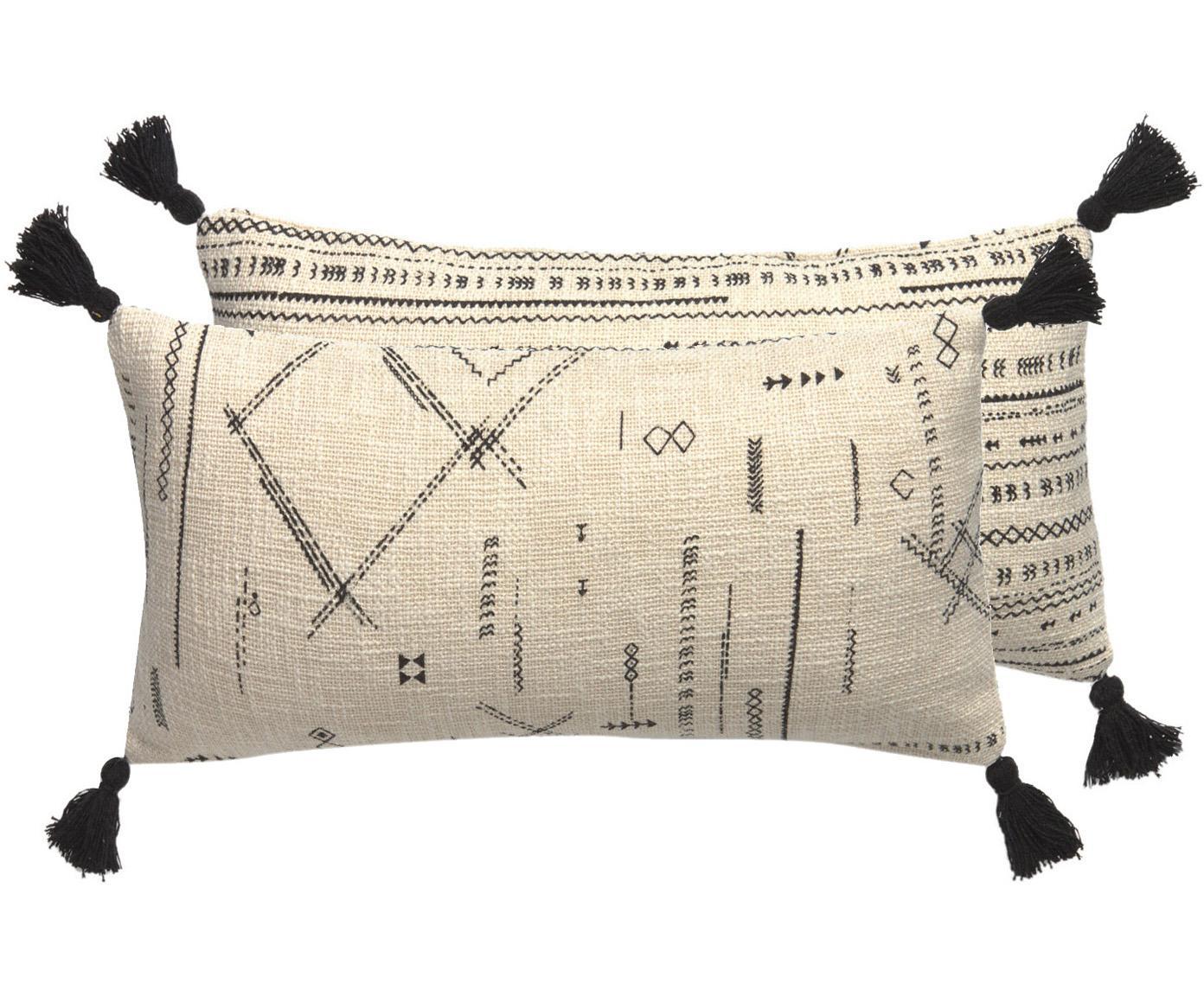 Funda de cojín con borlas Kertes, estilo boho, caras distantas, 100%algodón, Negro, An 30 x L 60 cm