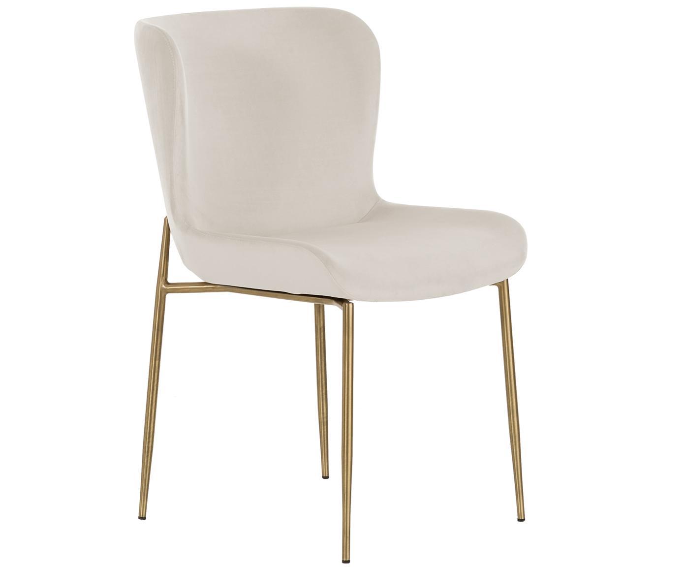 Krzesło tapicerowane z aksamitu Tess, Tapicerka: aksamit (poliester) 3000, Nogi: metal powlekany, Aksamitny beżowy, Nogi: złoty, S 48 x G 64 cm
