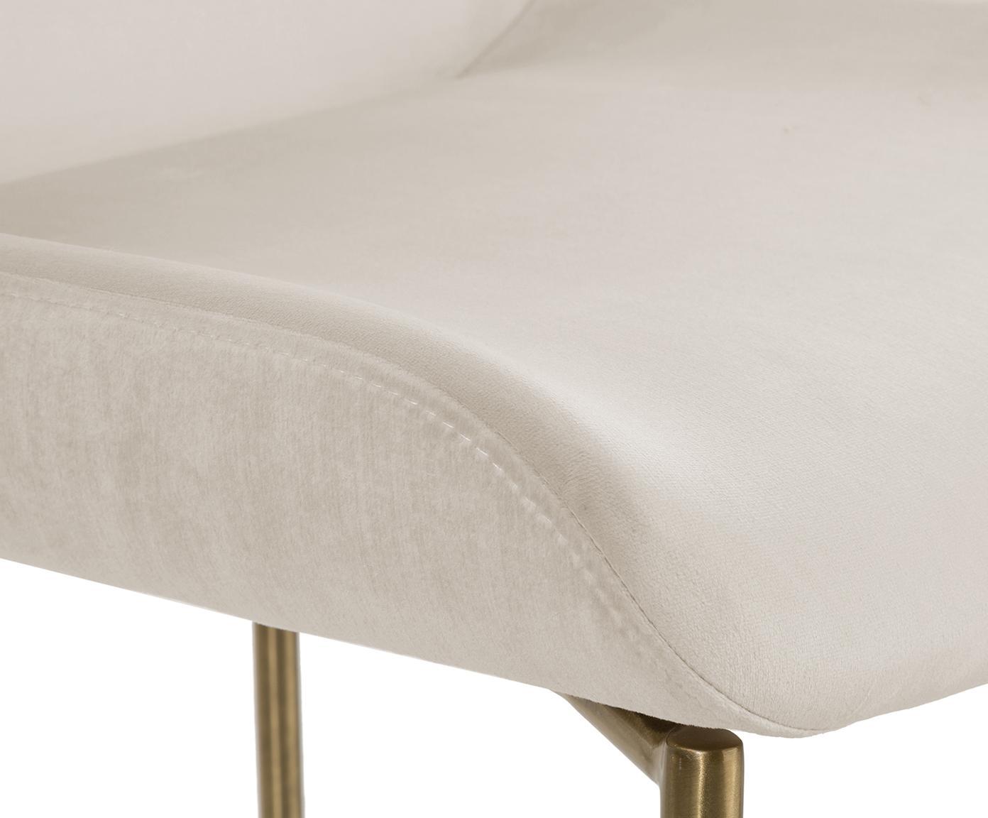 Sedia imbottita in velluto Tess, Rivestimento: velluto (poliestere) 30.0, Gambe: metallo, rivestito, Velluto beige, gambe oro, Larg. 48 x Alt. 64 cm