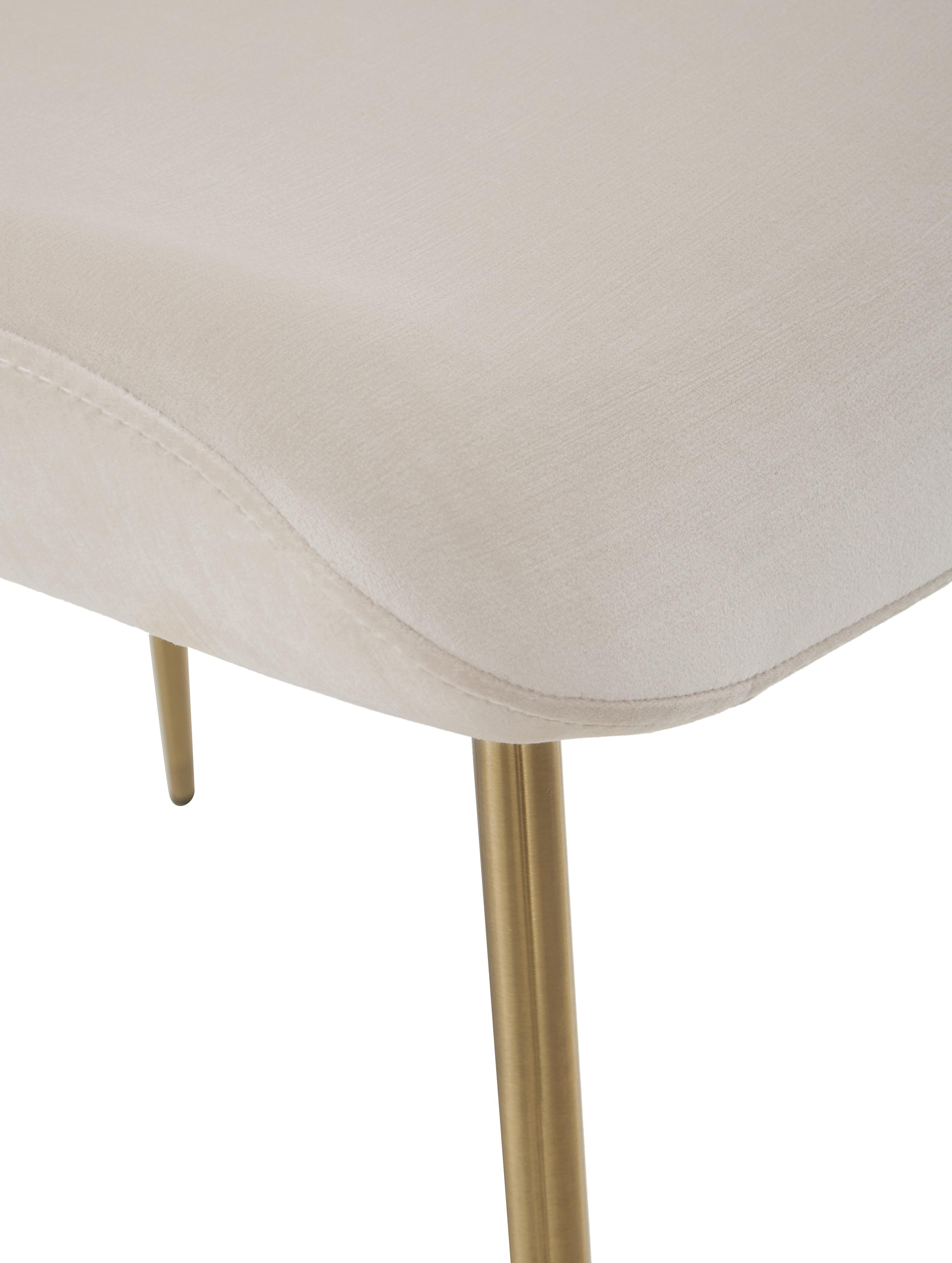 Chaise velours rembourré Tess, Velours beige, pieds or