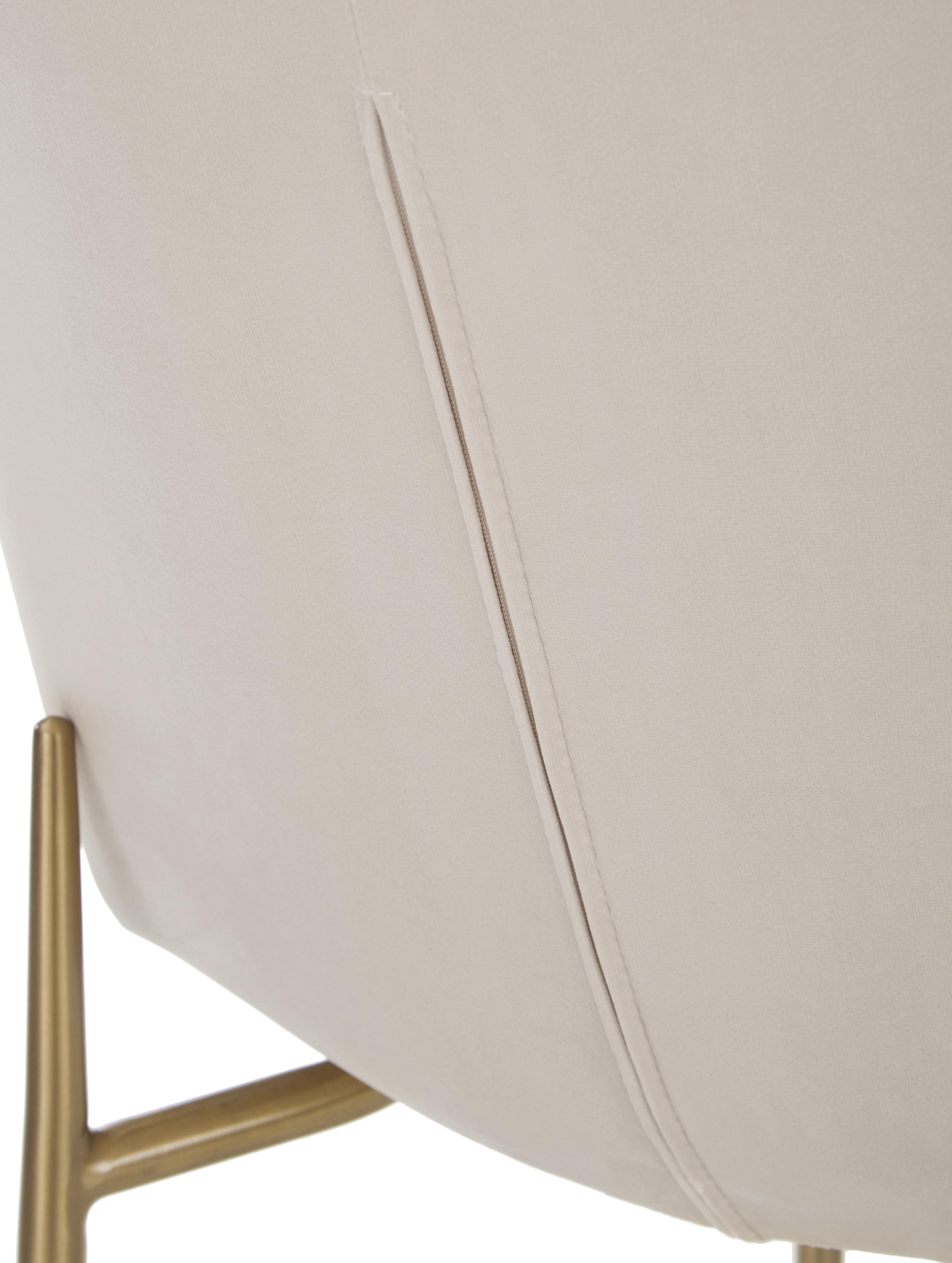 Silla de terciopelo Tess, Tapizado: terciopelo (poliéster) Al, Patas: metal recubierto, Terciopelo beige, patas oro, An 48 x Al 84 cm