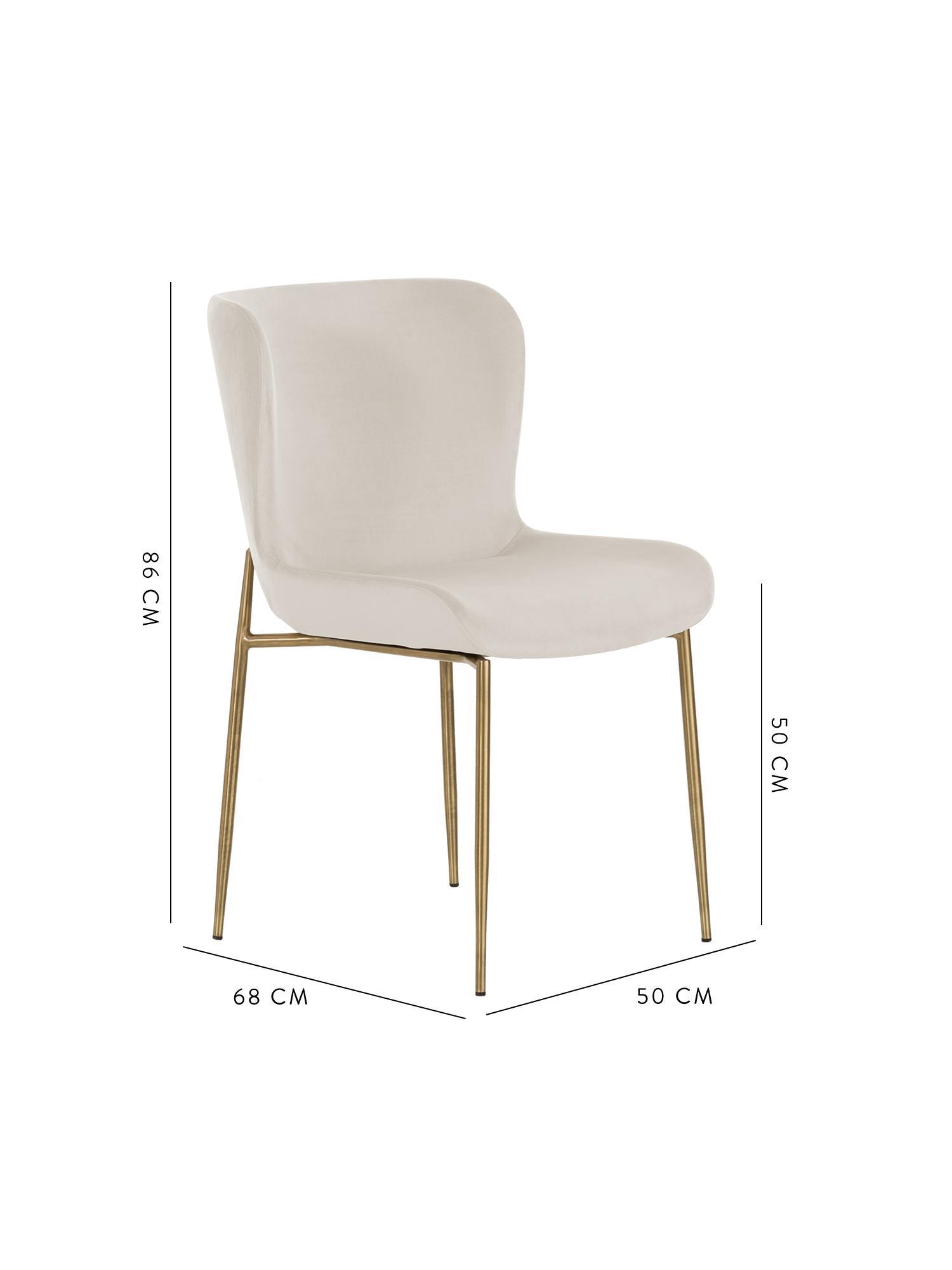 Samt-Polsterstuhl Tess, Bezug: Samt (Polyester) Der hoch, Beine: Metall, beschichtet, Samt Beige, Beine Gold, B 48 x T 64 cm