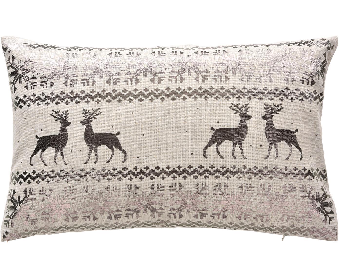 Kussenhoes Lodge met winterpatroon, 95% polyester, 5% linnen, Roestkleurig, beige, 30 x 50 cm