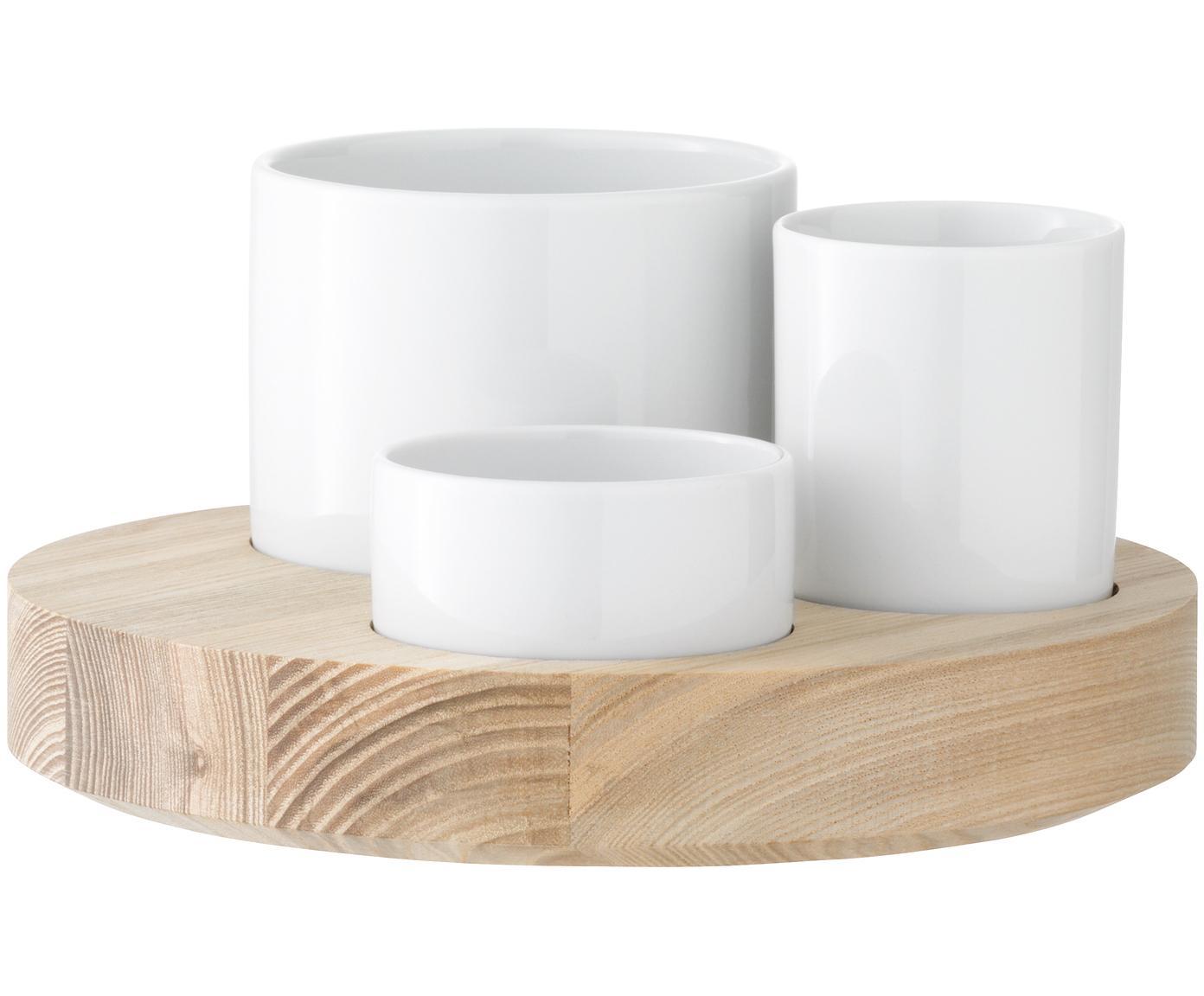 Komplet do serwowania oliwek, 4 elem., Biały, brązowy, Różne rozmiary